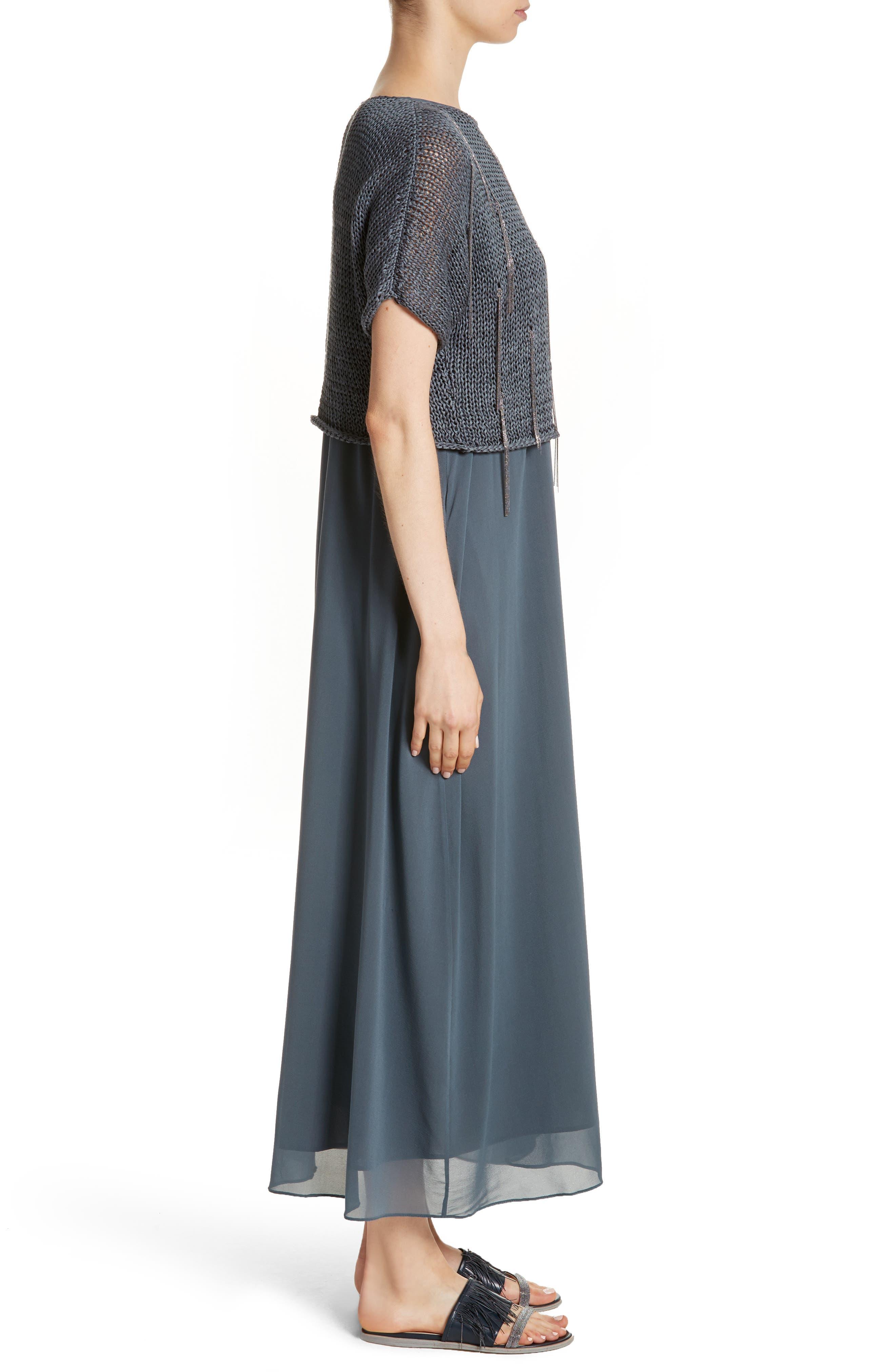 Knit Overlay Stretch Silk Dress,                             Alternate thumbnail 3, color,