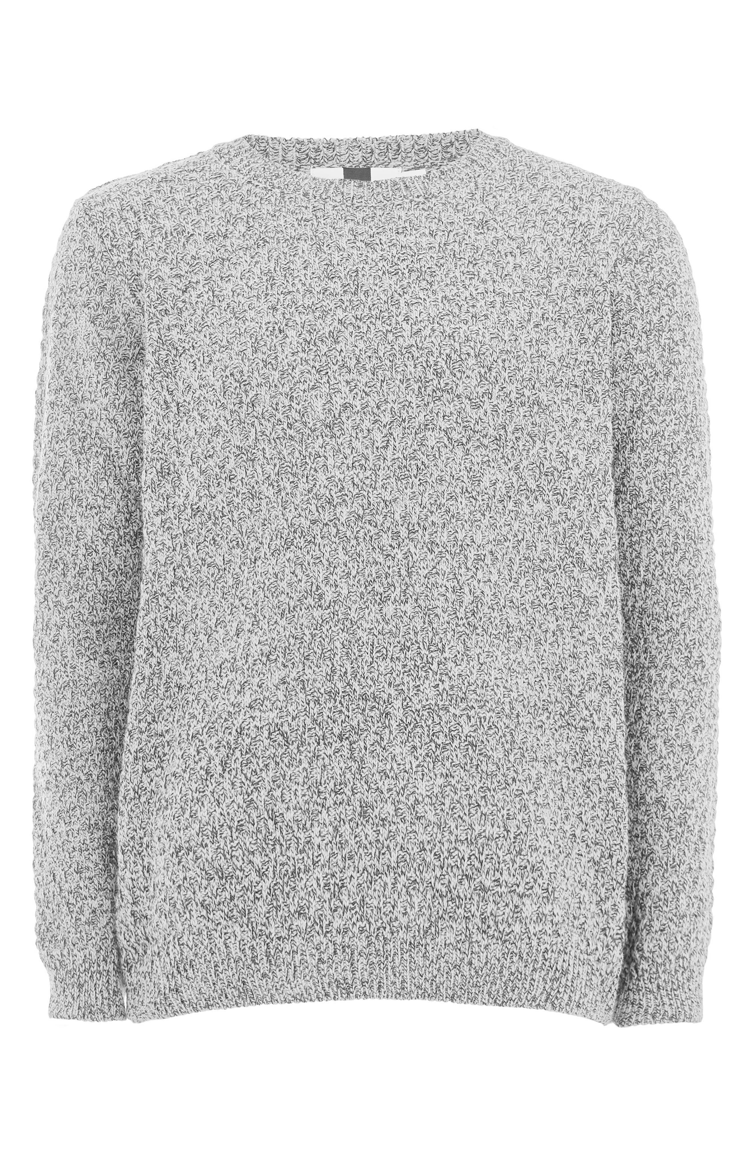 Textured Crewneck Sweater,                             Alternate thumbnail 4, color,                             GREY
