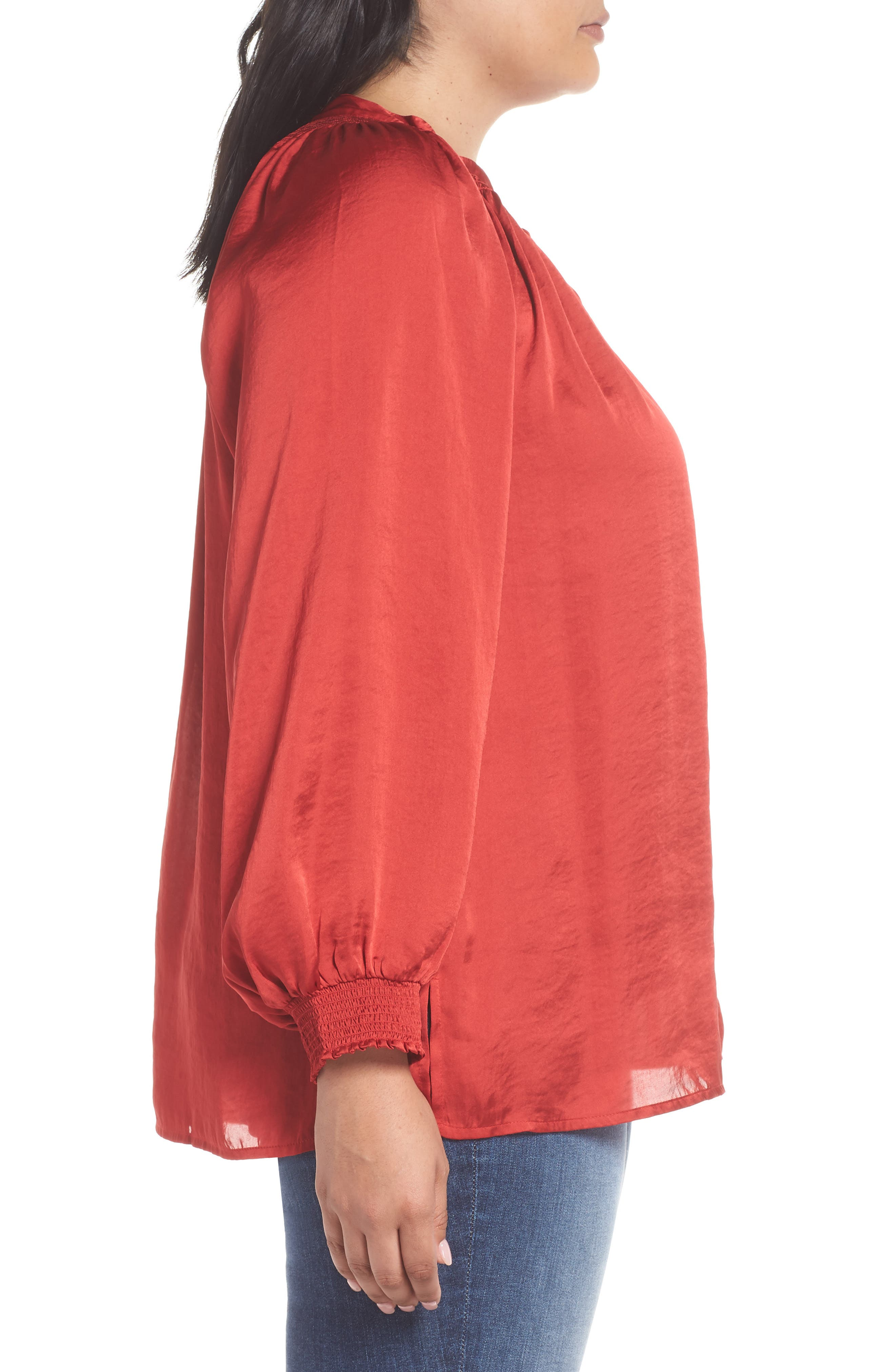 Satin Peasant Top,                             Alternate thumbnail 3, color,                             640