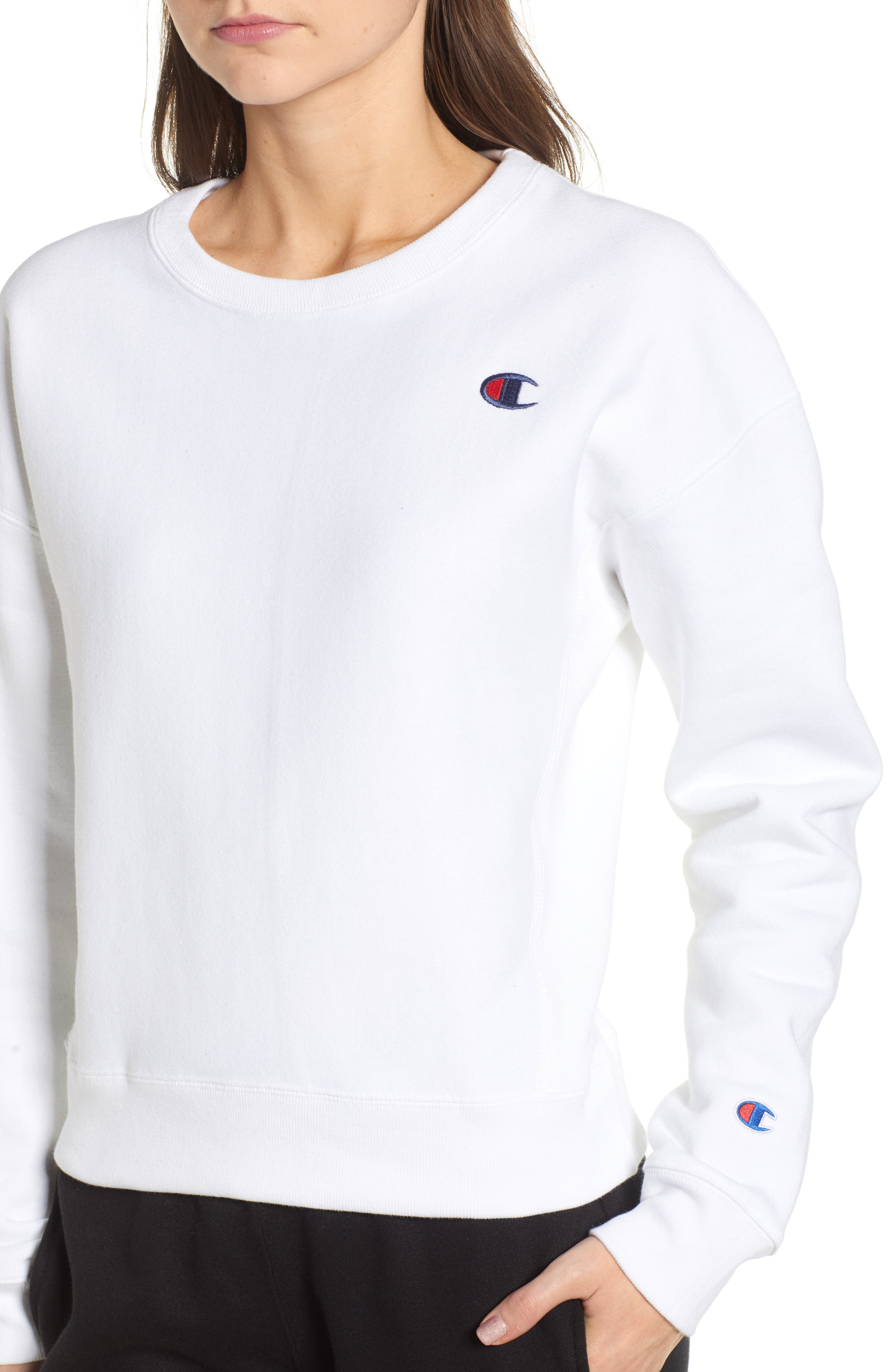 Reverse Weave Crew Sweatshirt,                             Alternate thumbnail 4, color,                             100
