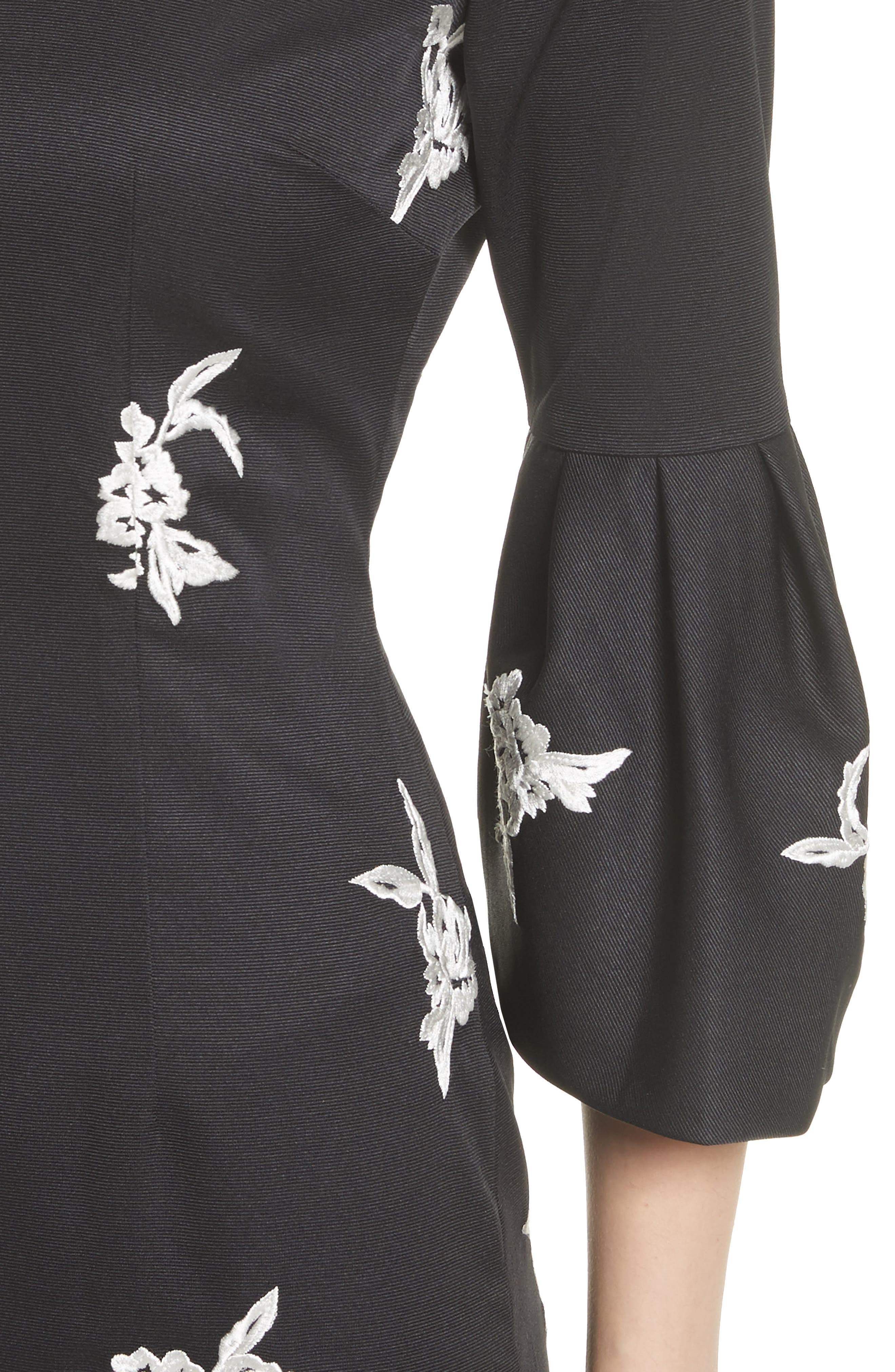 Noir Embroidered Bell Sleeve Sheath Dress,                             Alternate thumbnail 4, color,                             001