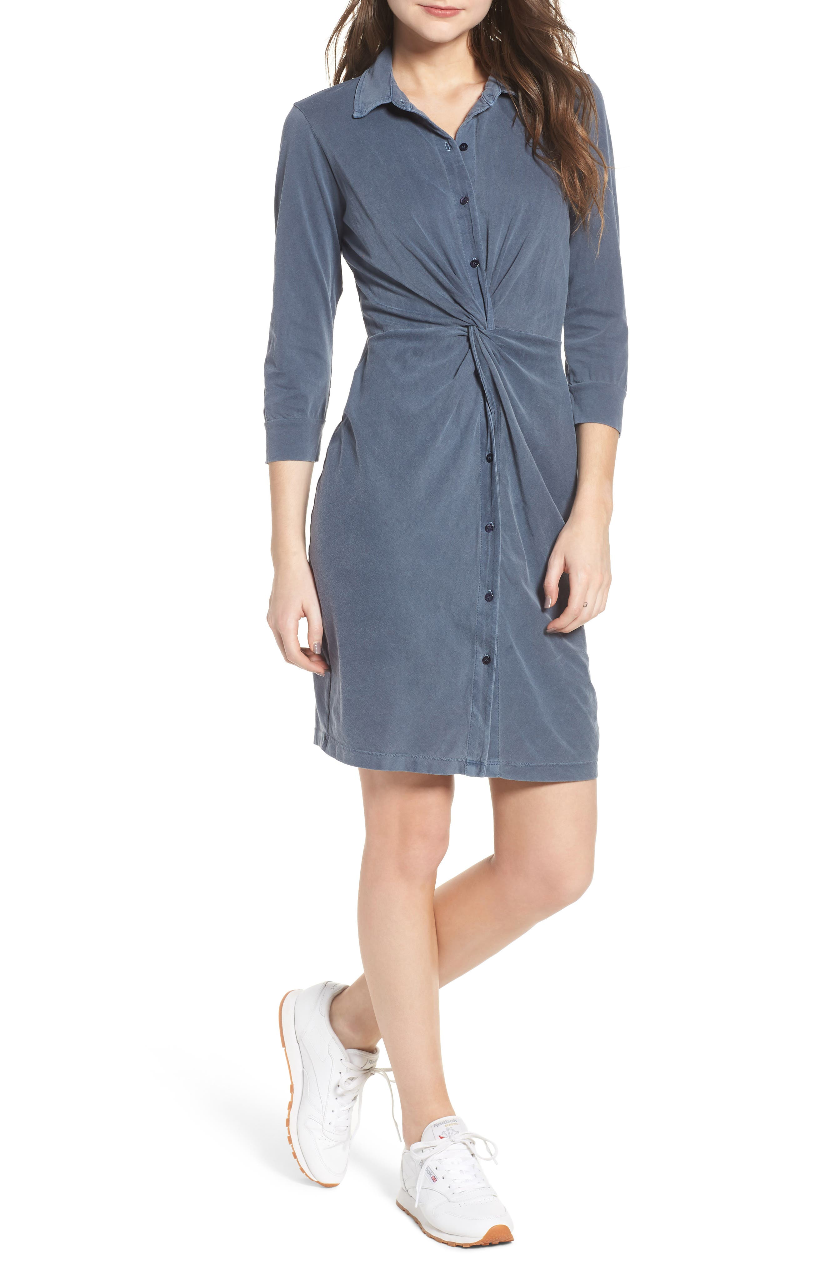 Twist Waist Brushed Jersey Dress,                             Main thumbnail 2, color,