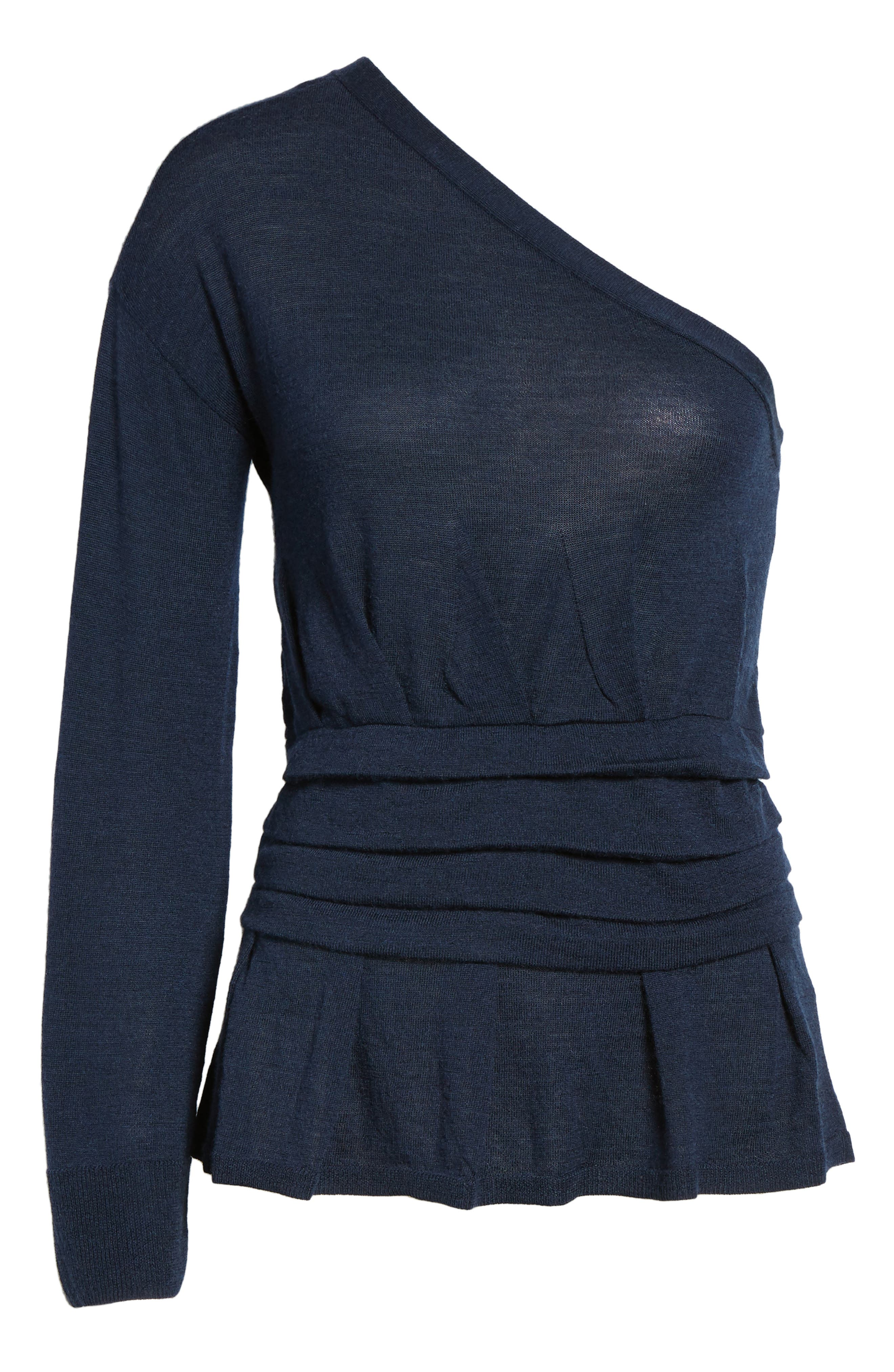 x Something Navy One-Sleeve Sweater,                             Alternate thumbnail 6, color,