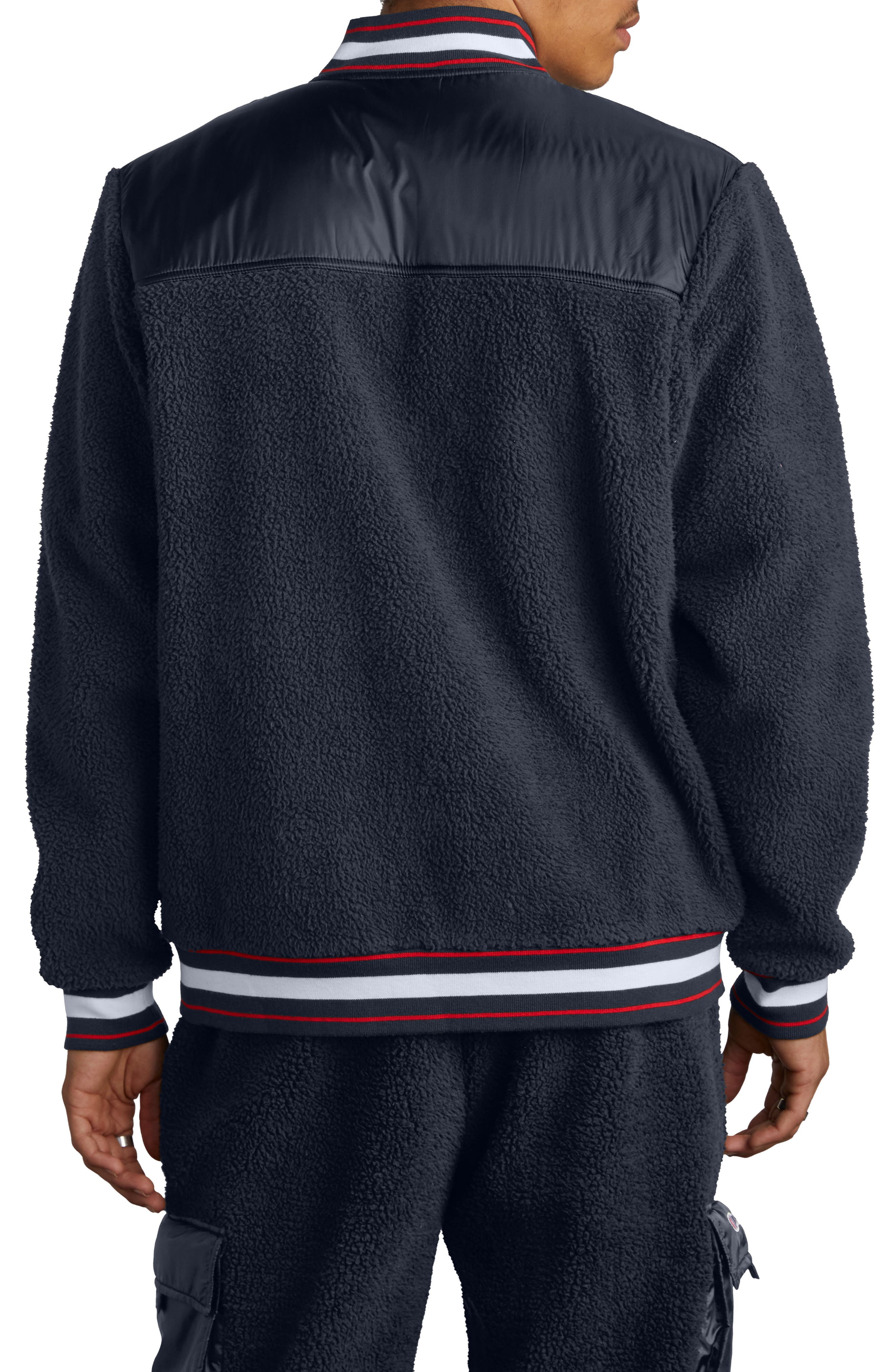 Fleece Baseball Jacket,                             Alternate thumbnail 2, color,                             NAVY