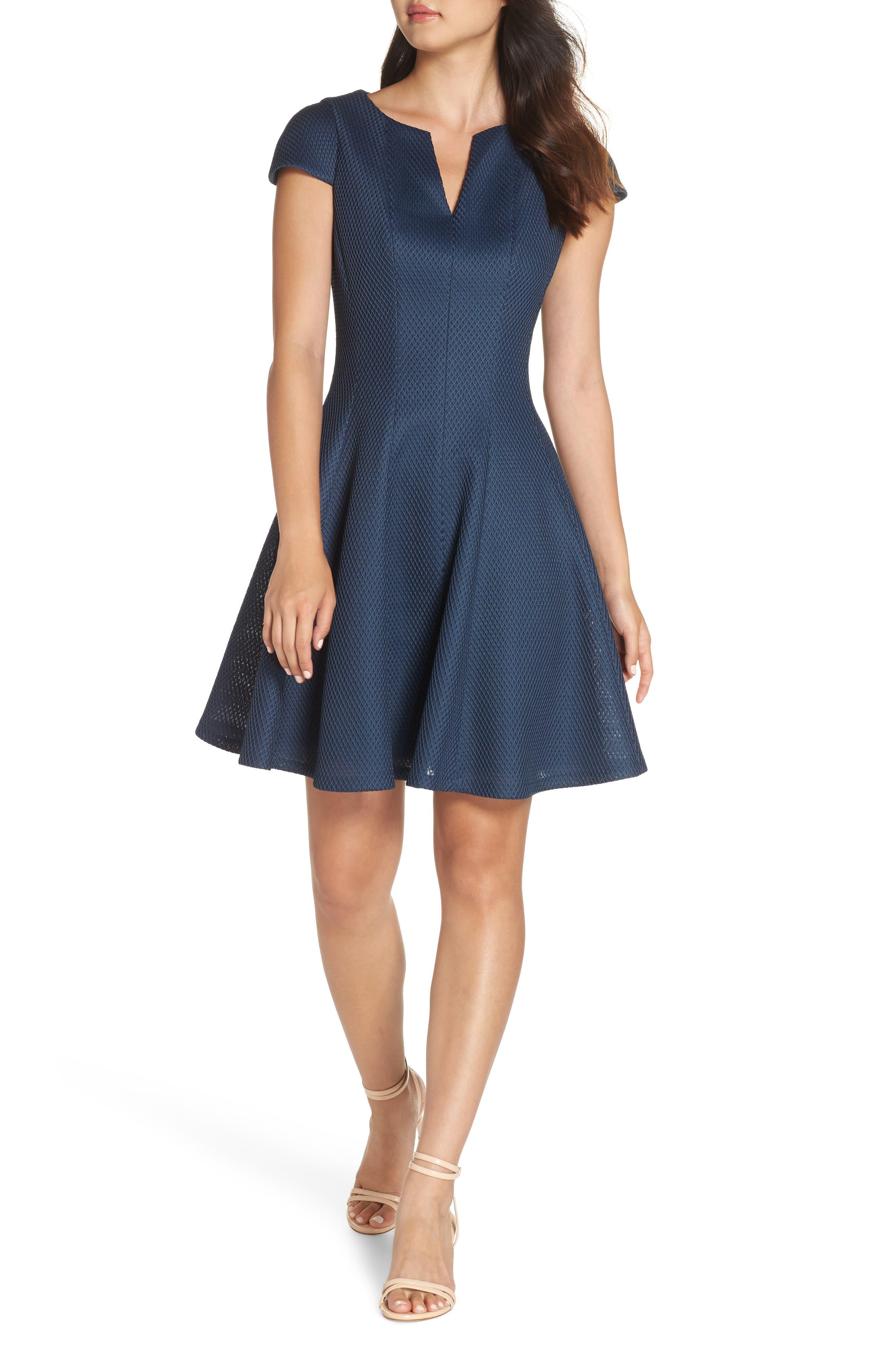 Julia Jordan Fit & Flare Dress, Blue/green
