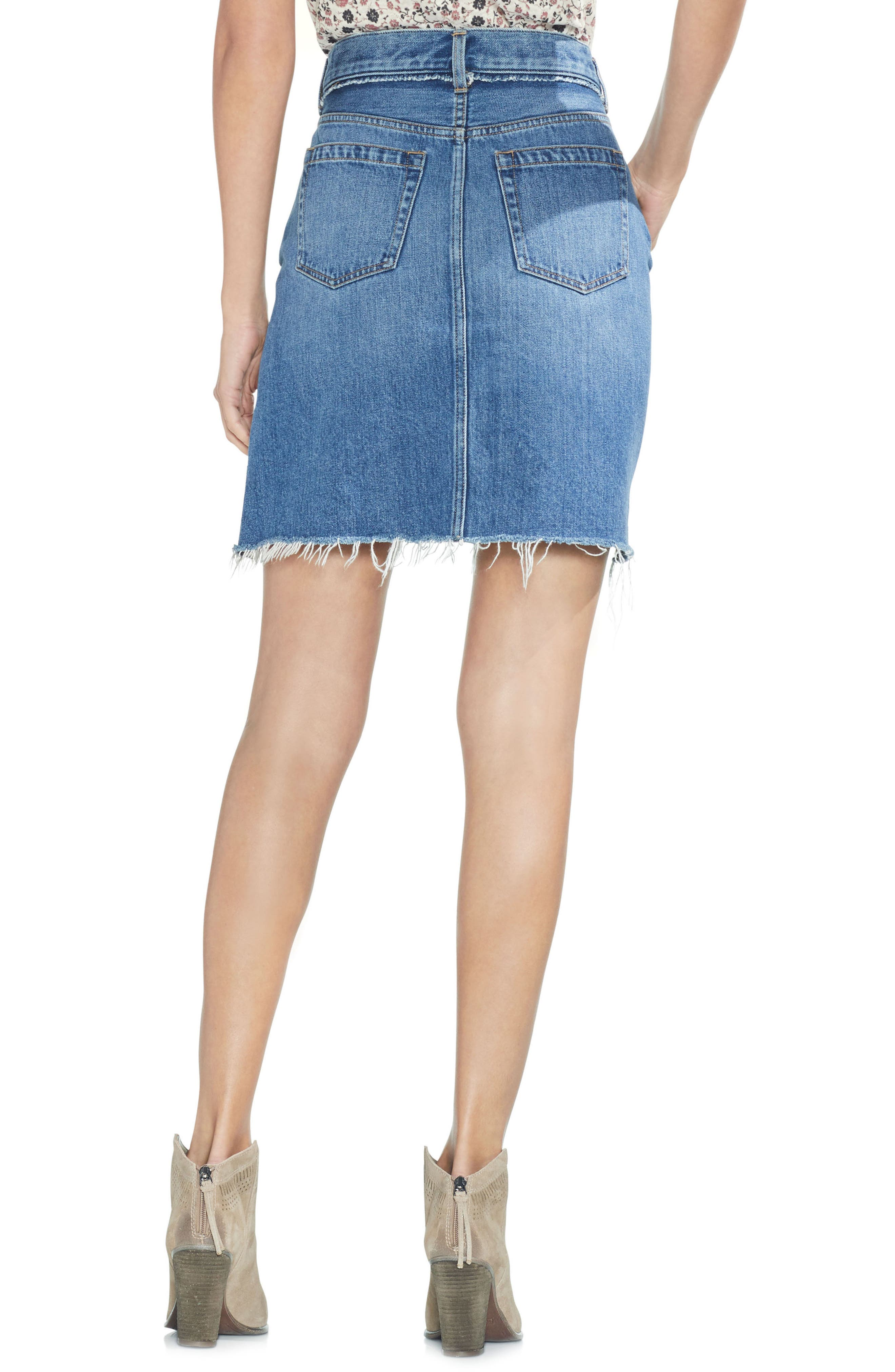 Classic Fray Hem Denim Skirt,                             Alternate thumbnail 2, color,                             482