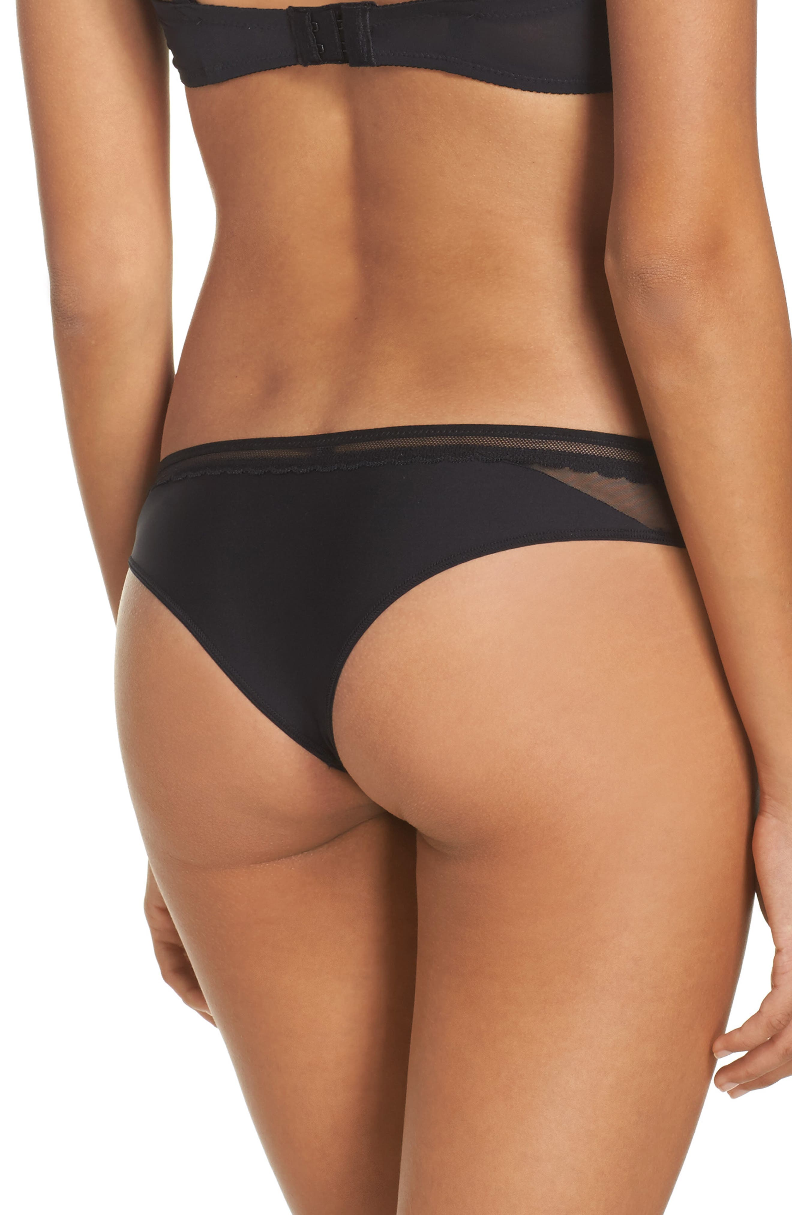 Embrasse Moi Lace Thong,                             Alternate thumbnail 2, color,                             001