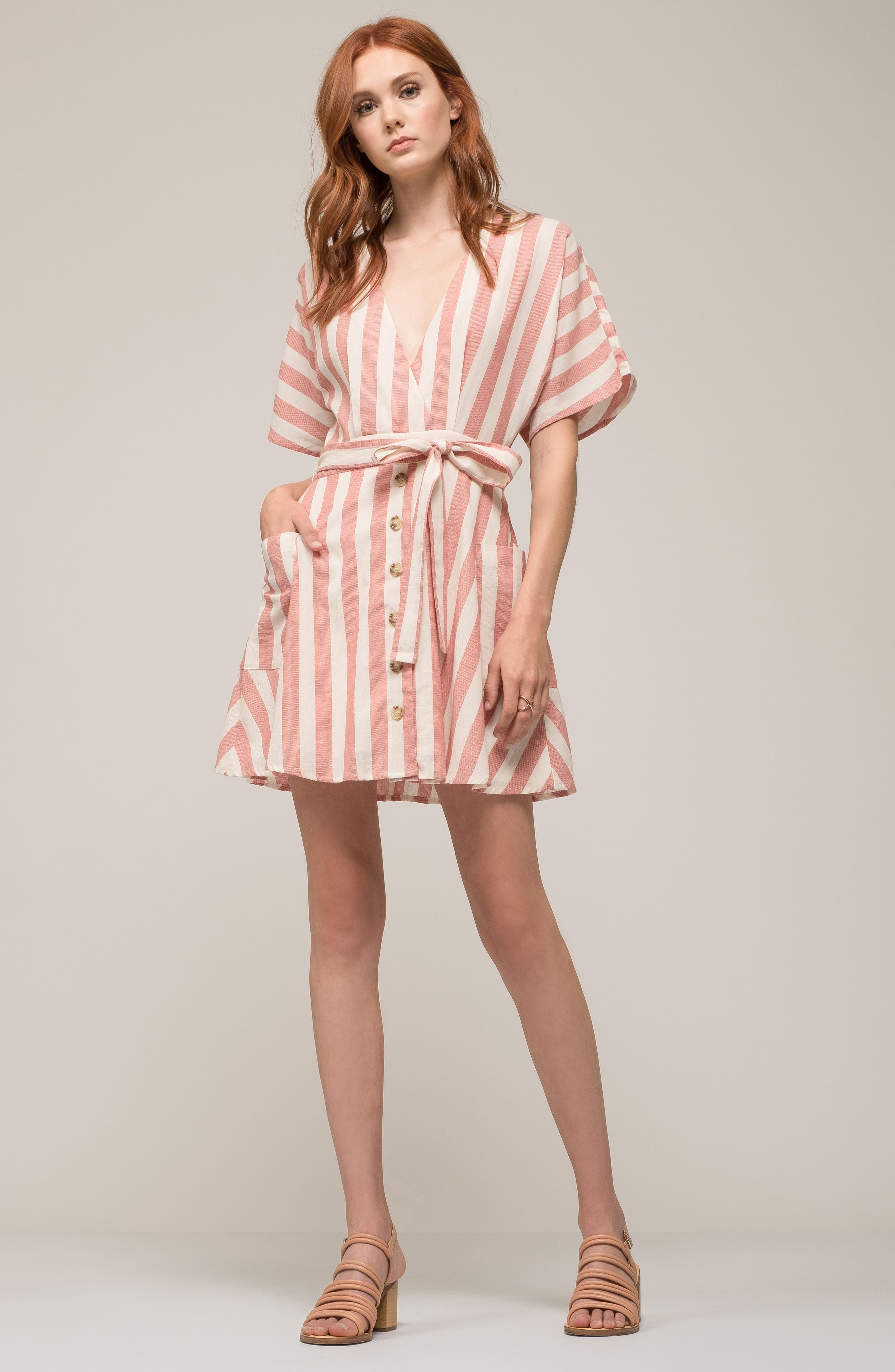 Stripe Cotton Wrap Dress,                             Alternate thumbnail 9, color,                             RED STRIPE