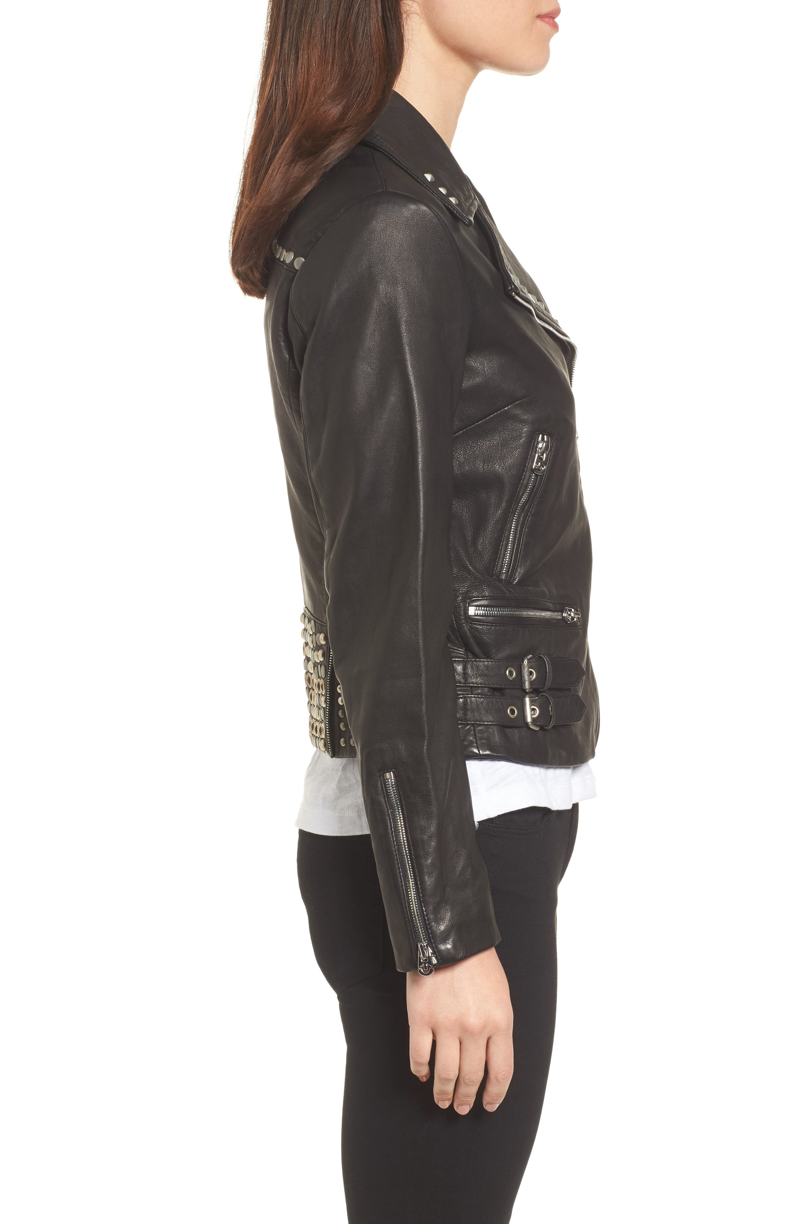 Studded Leather Jacket,                             Alternate thumbnail 3, color,