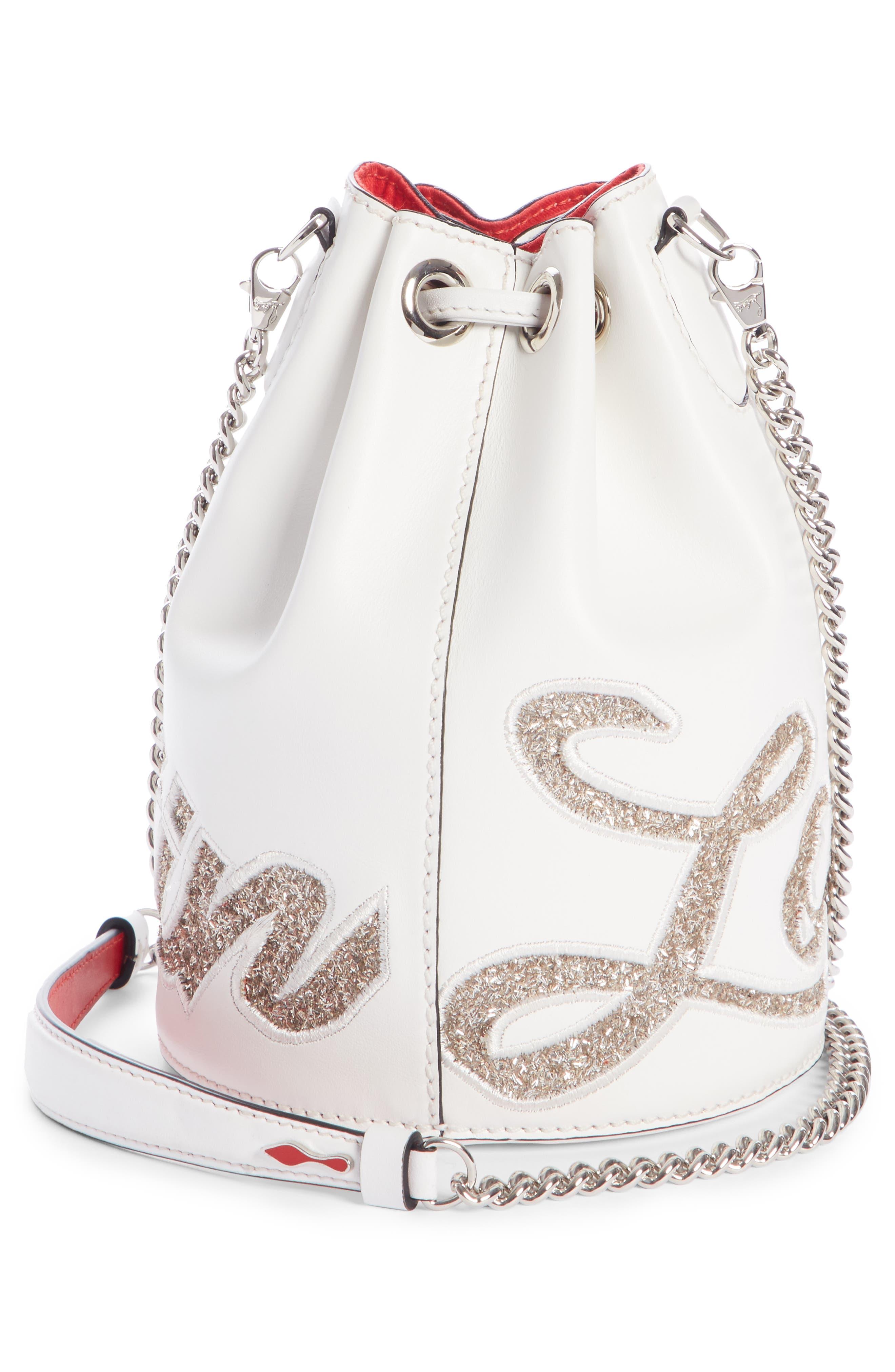 Marie Jane Calfskin Bucket Bag,                             Alternate thumbnail 3, color,                             SNOW/ PERLE