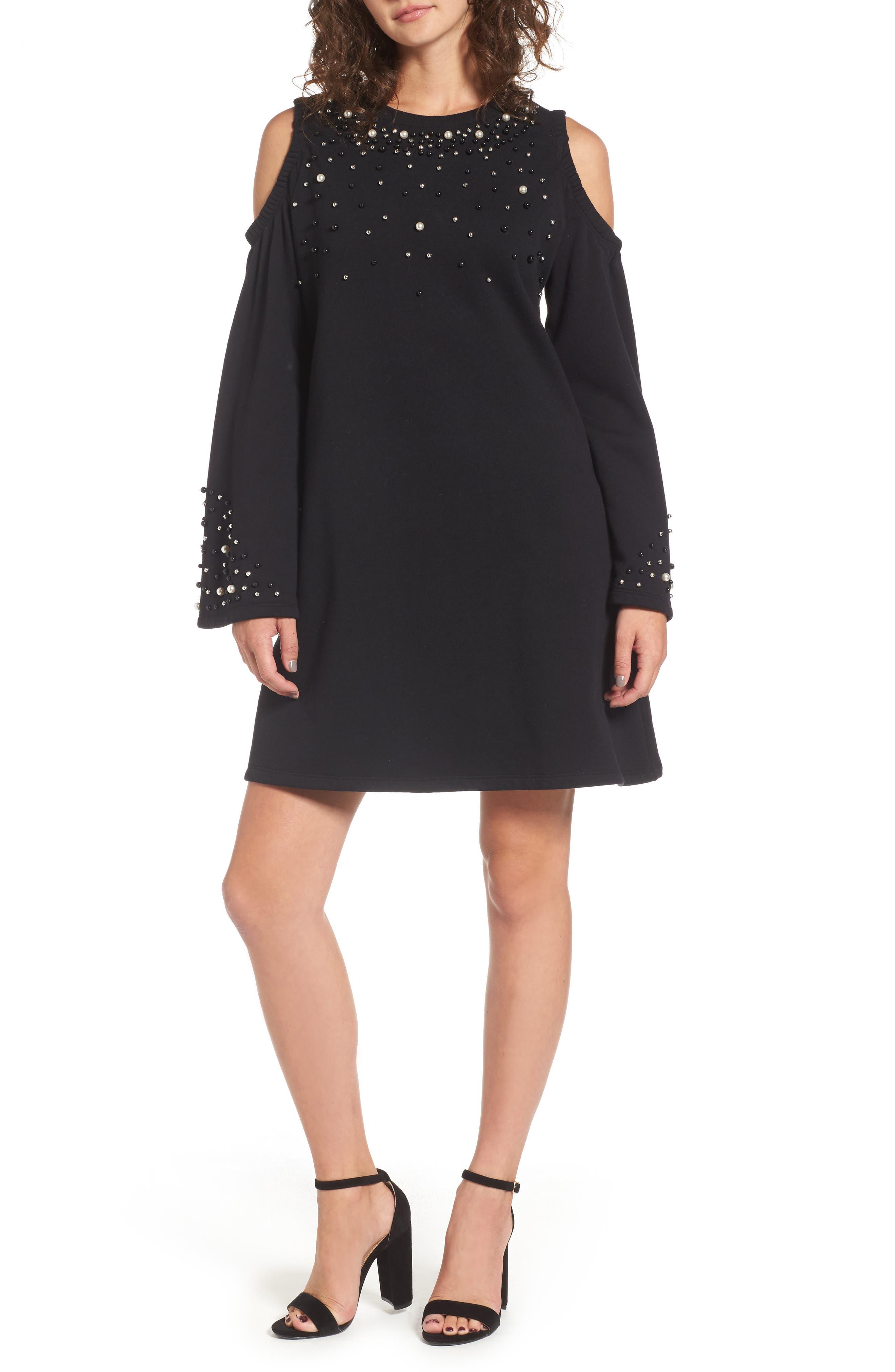 Embellished Cold Shoulder Sweatshirt Dress,                             Main thumbnail 1, color,