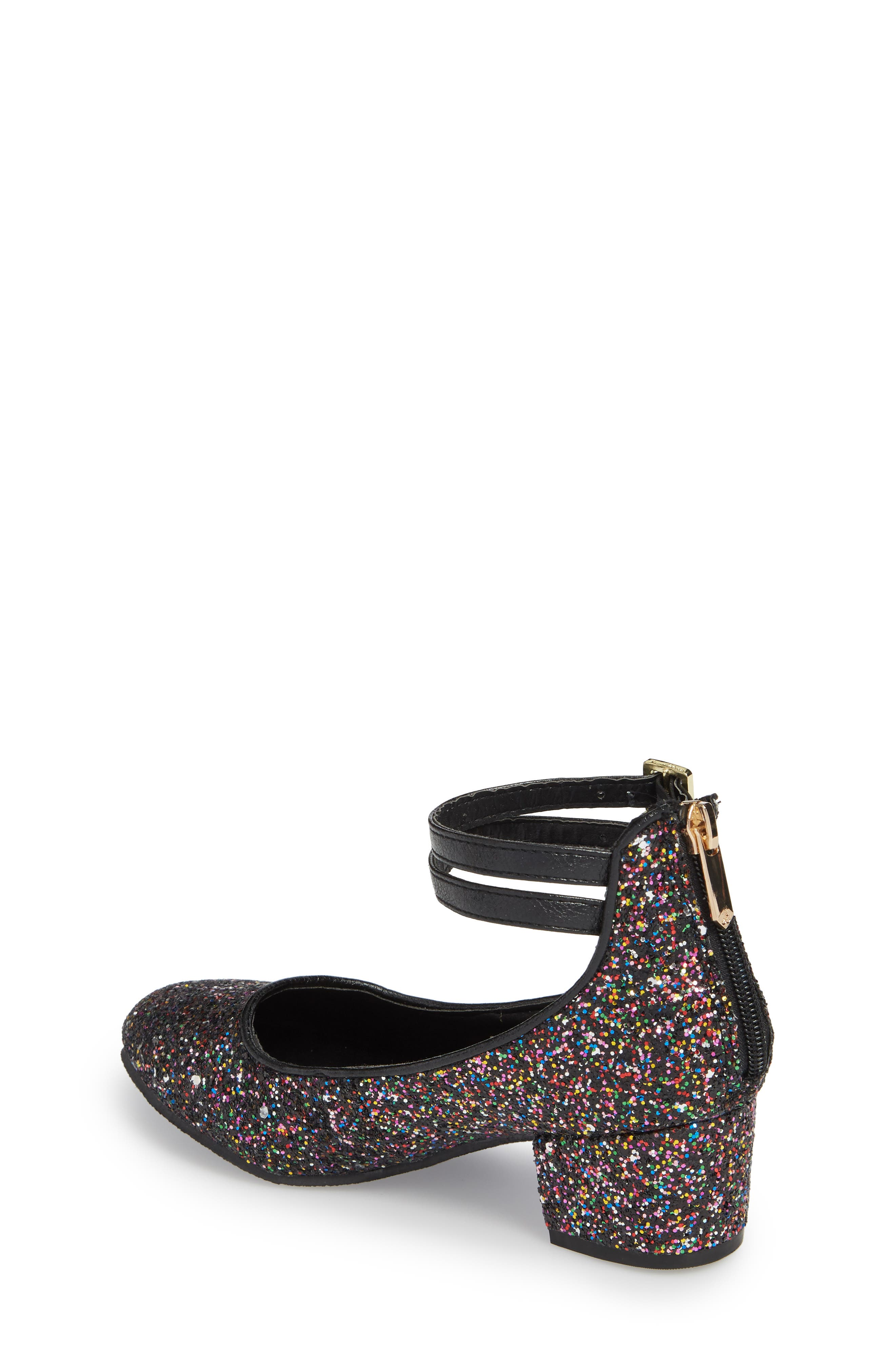 Evelyn Bree Ankle Strap Glitter Pump,                             Alternate thumbnail 2, color,                             001