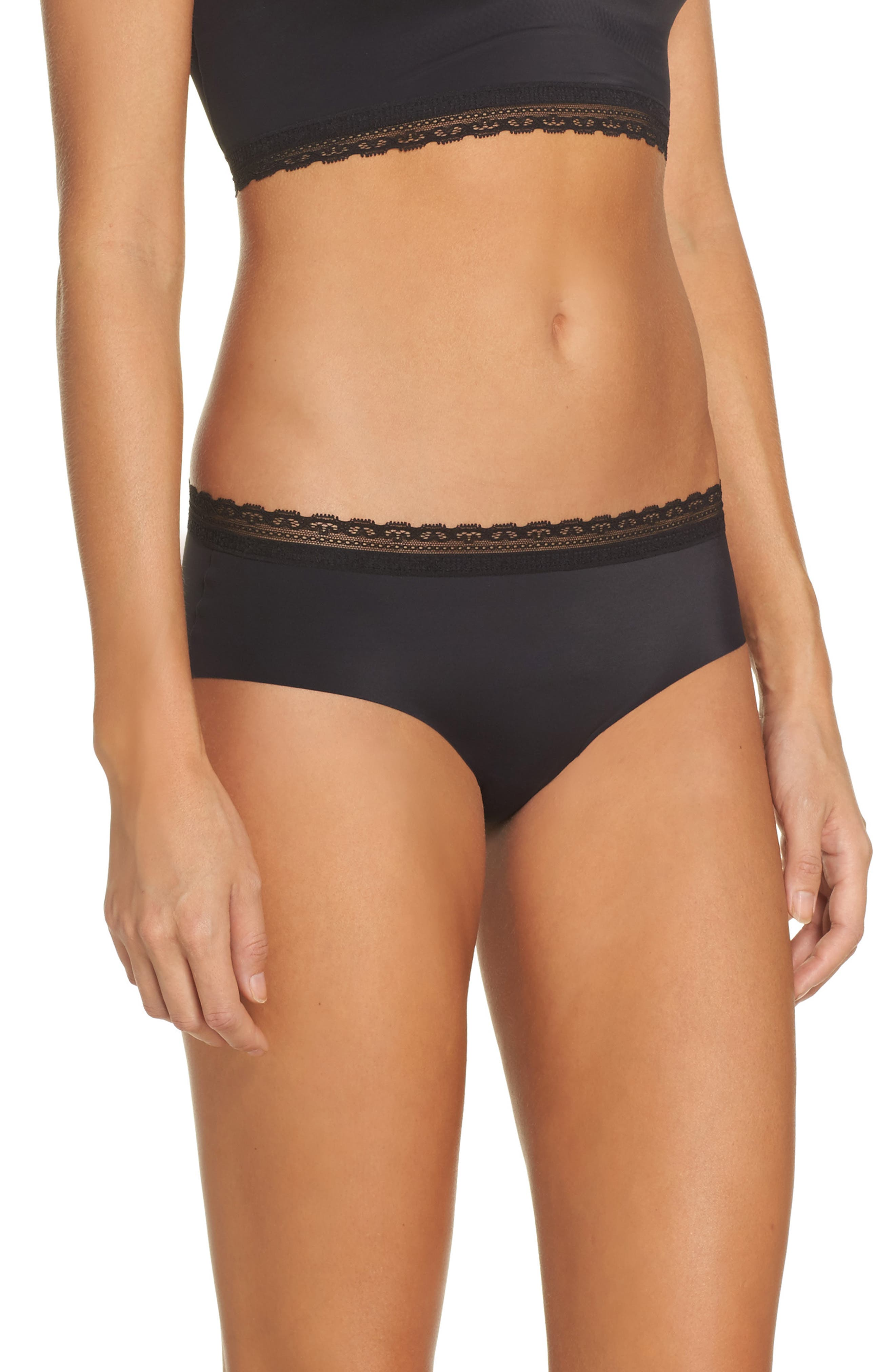 Almost Naked Lace Trim Hipster Briefs,                             Alternate thumbnail 3, color,                             BLACK