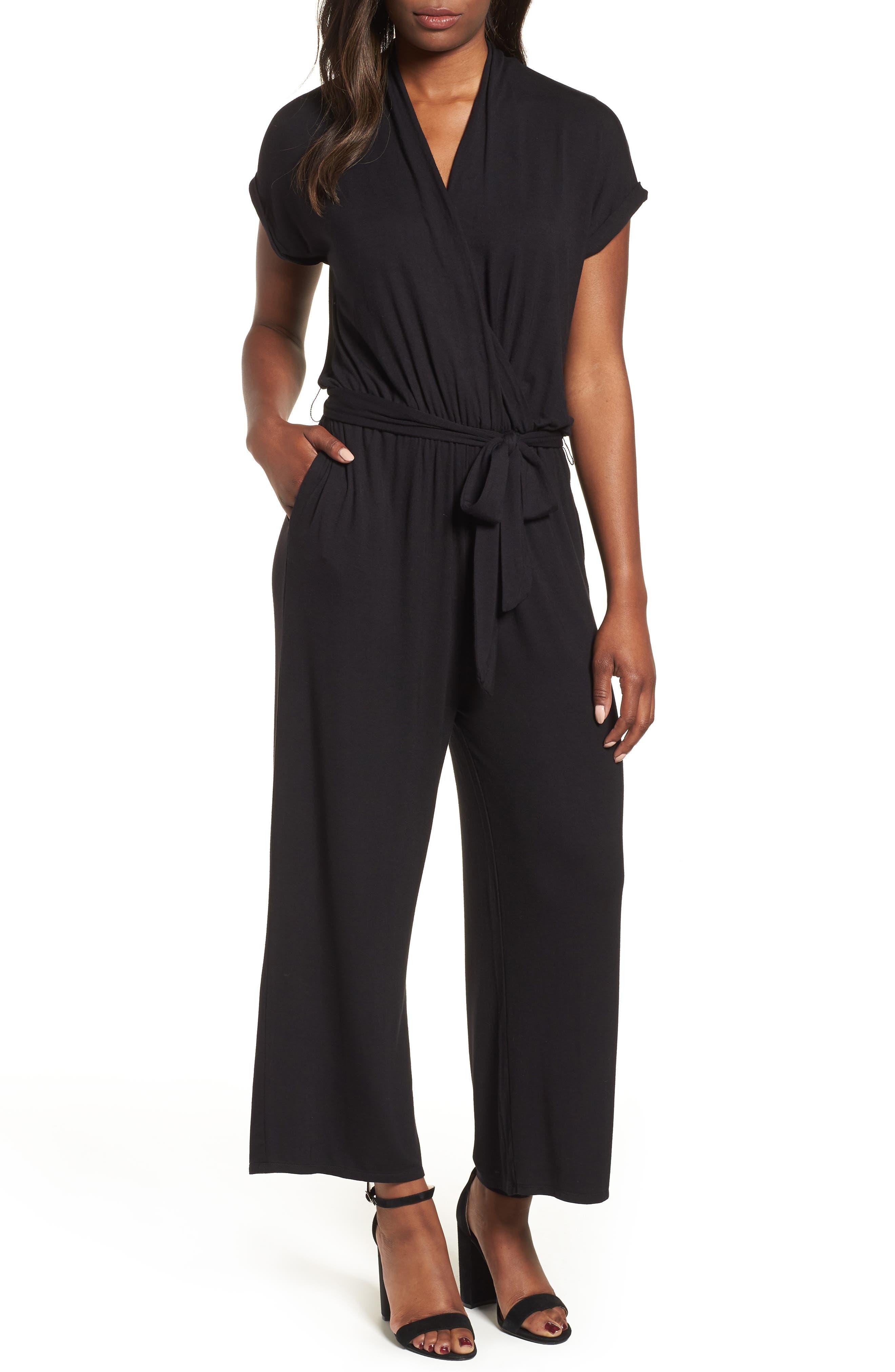 BOBEAU Knit Surplus Jumpsuit, Main, color, 001