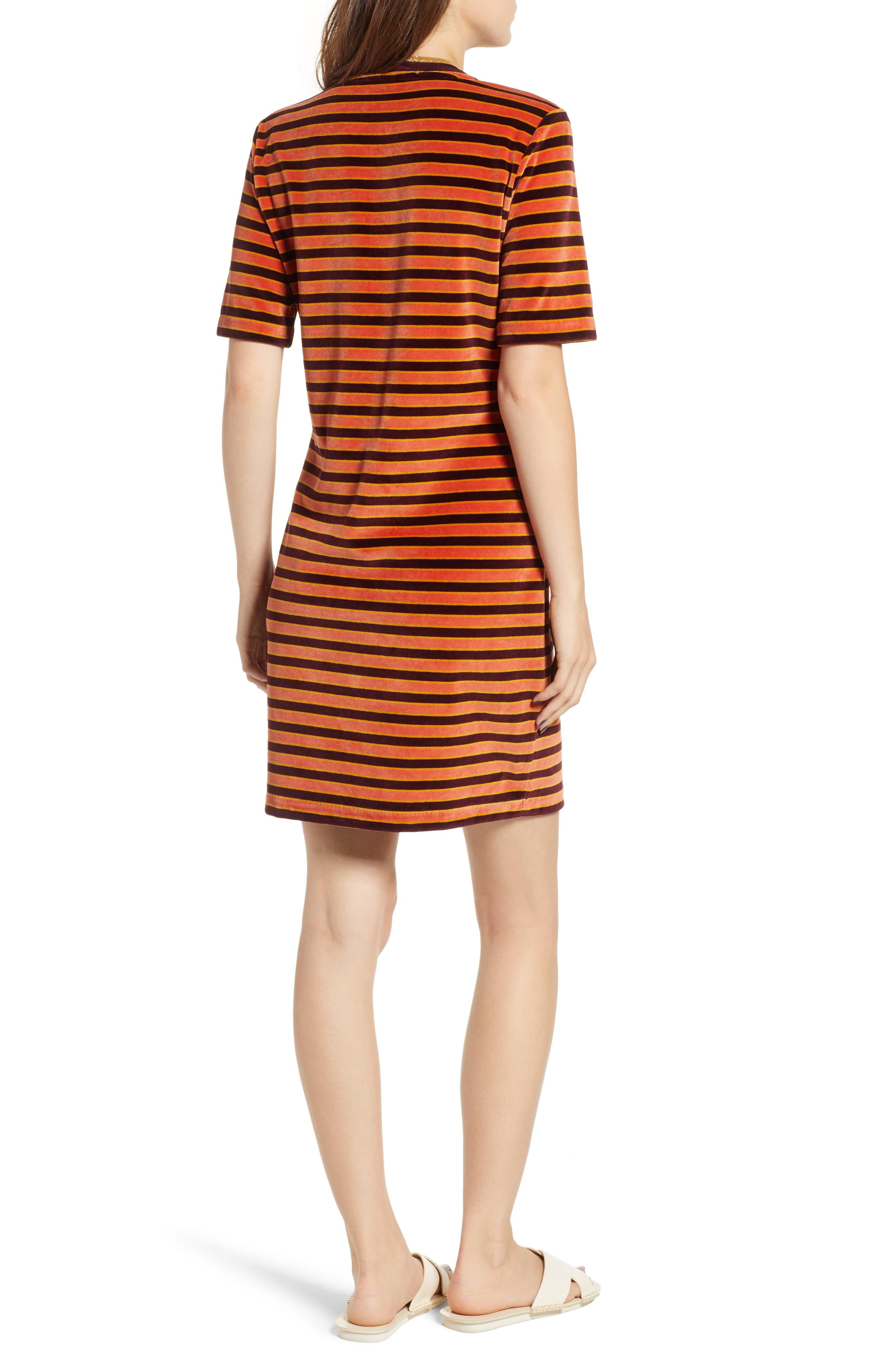 Striped Short Sleeve Velour Dress,                             Alternate thumbnail 2, color,                             ORANGE BURGUNDY STRIPE