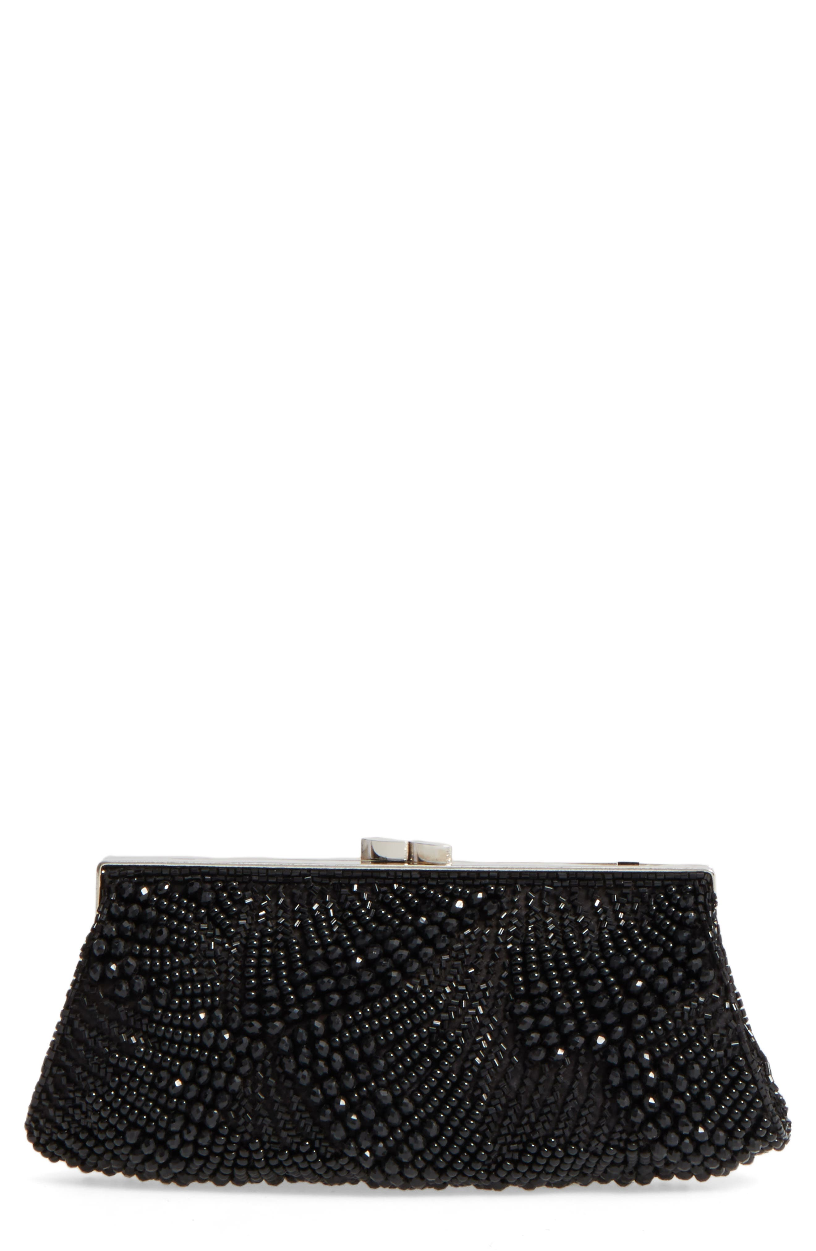 Faceted Fan Beaded Evening Clutch,                         Main,                         color, 001