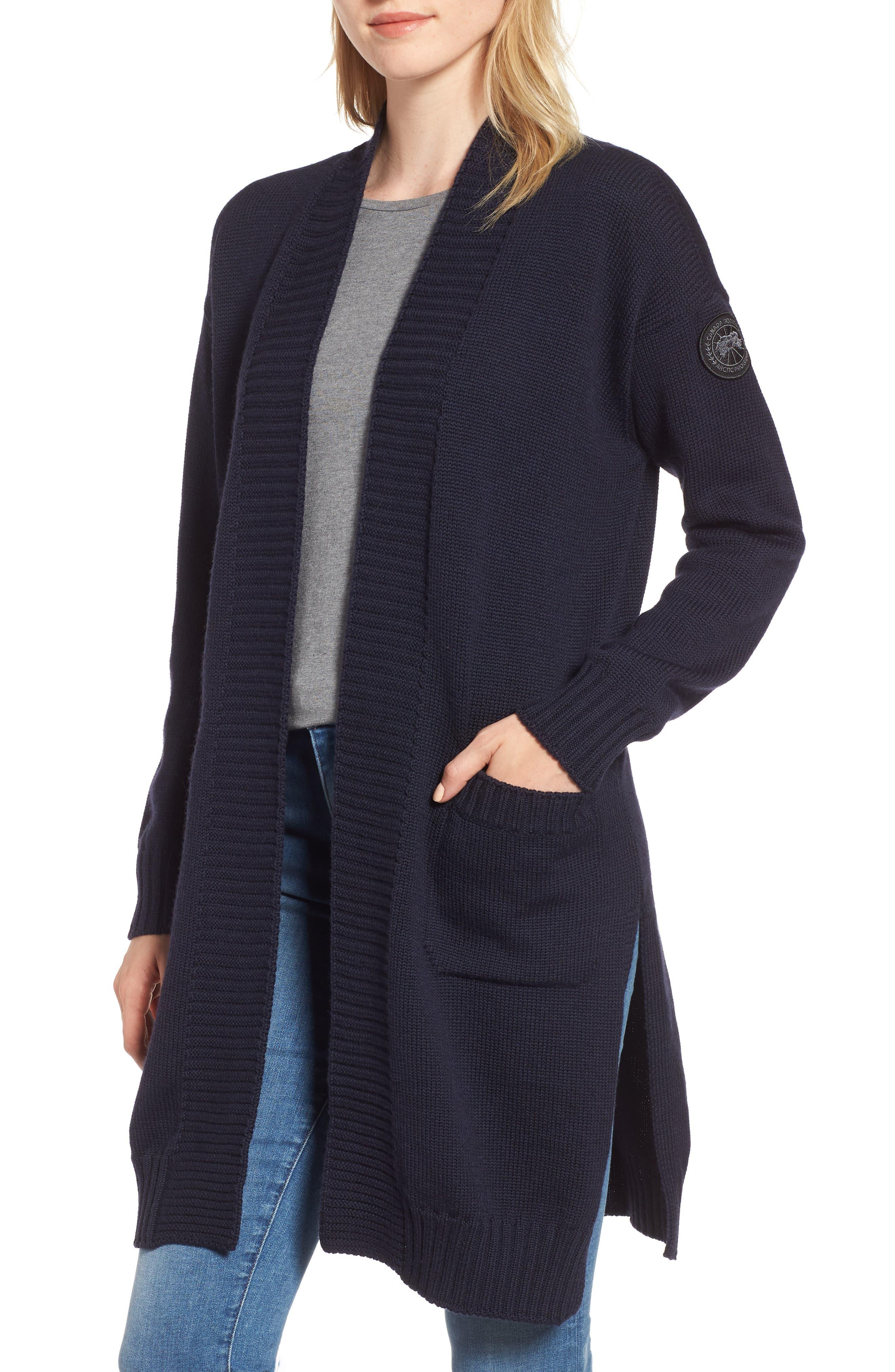 Cortina Long Merino Wool Cardigan in Navy