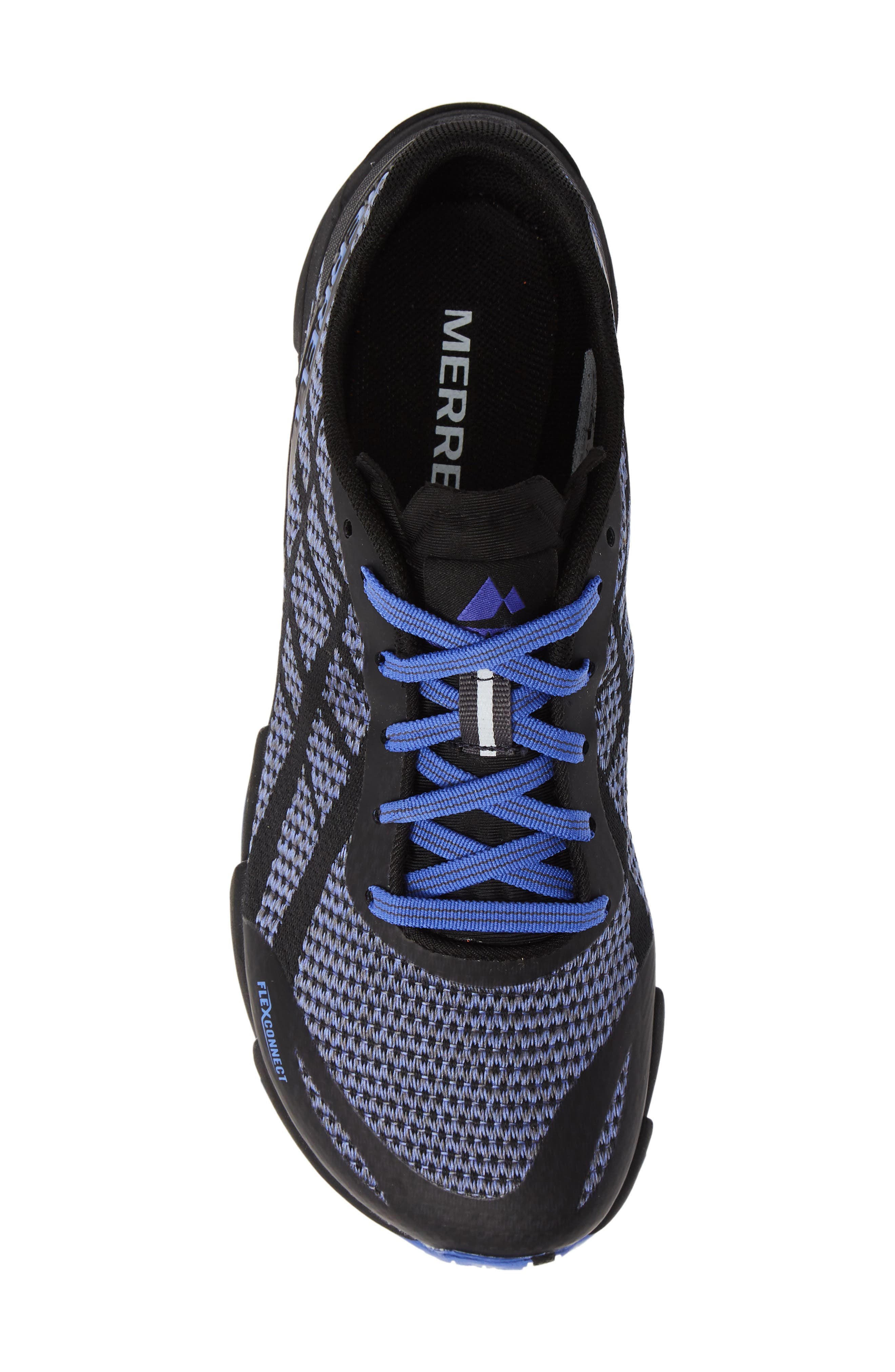 MERRELL,                             Bare Access Flex Shield Lace-Up Sneaker,                             Alternate thumbnail 5, color,                             BLACK AND WHITE FABRIC