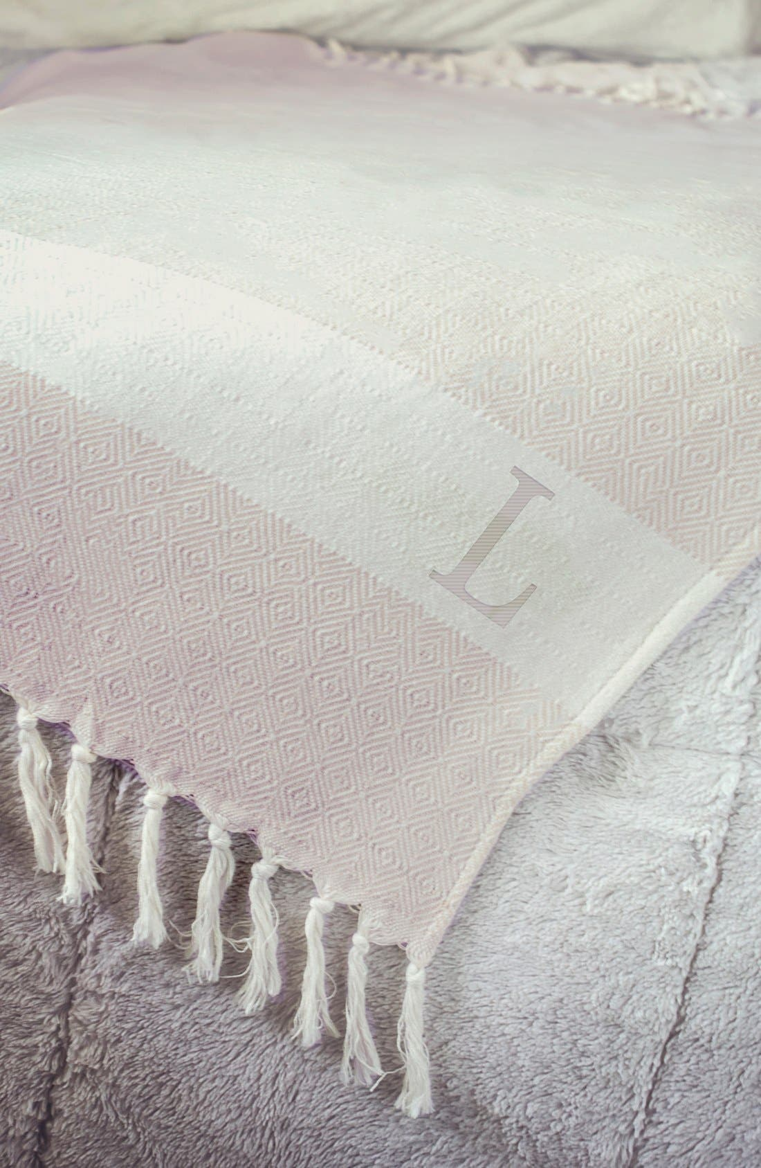 Monogram Turkish Cotton Throw,                             Alternate thumbnail 2, color,                             253