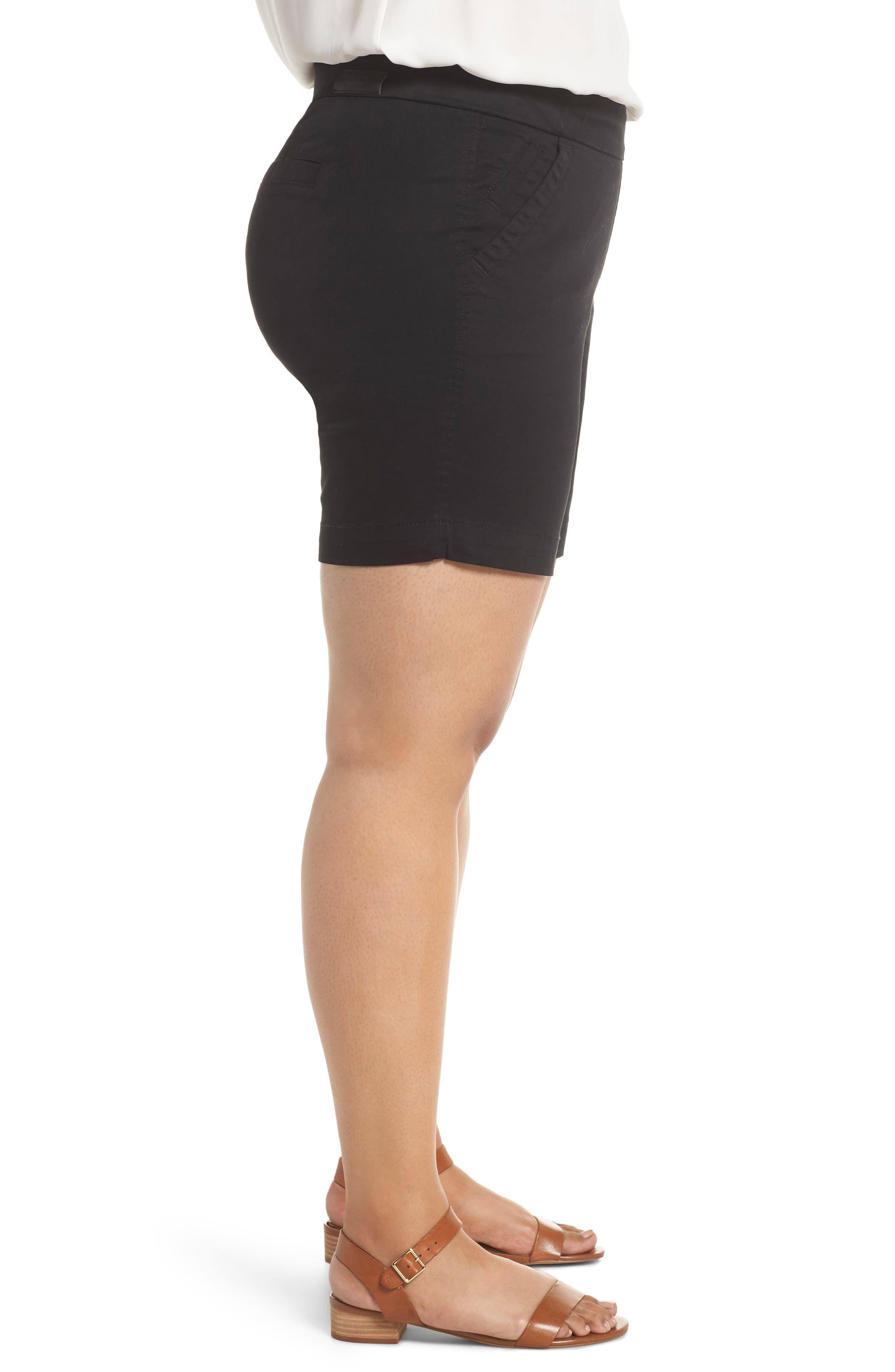 Gracie Stretch Cotton Shorts,                             Alternate thumbnail 3, color,                             BLACK