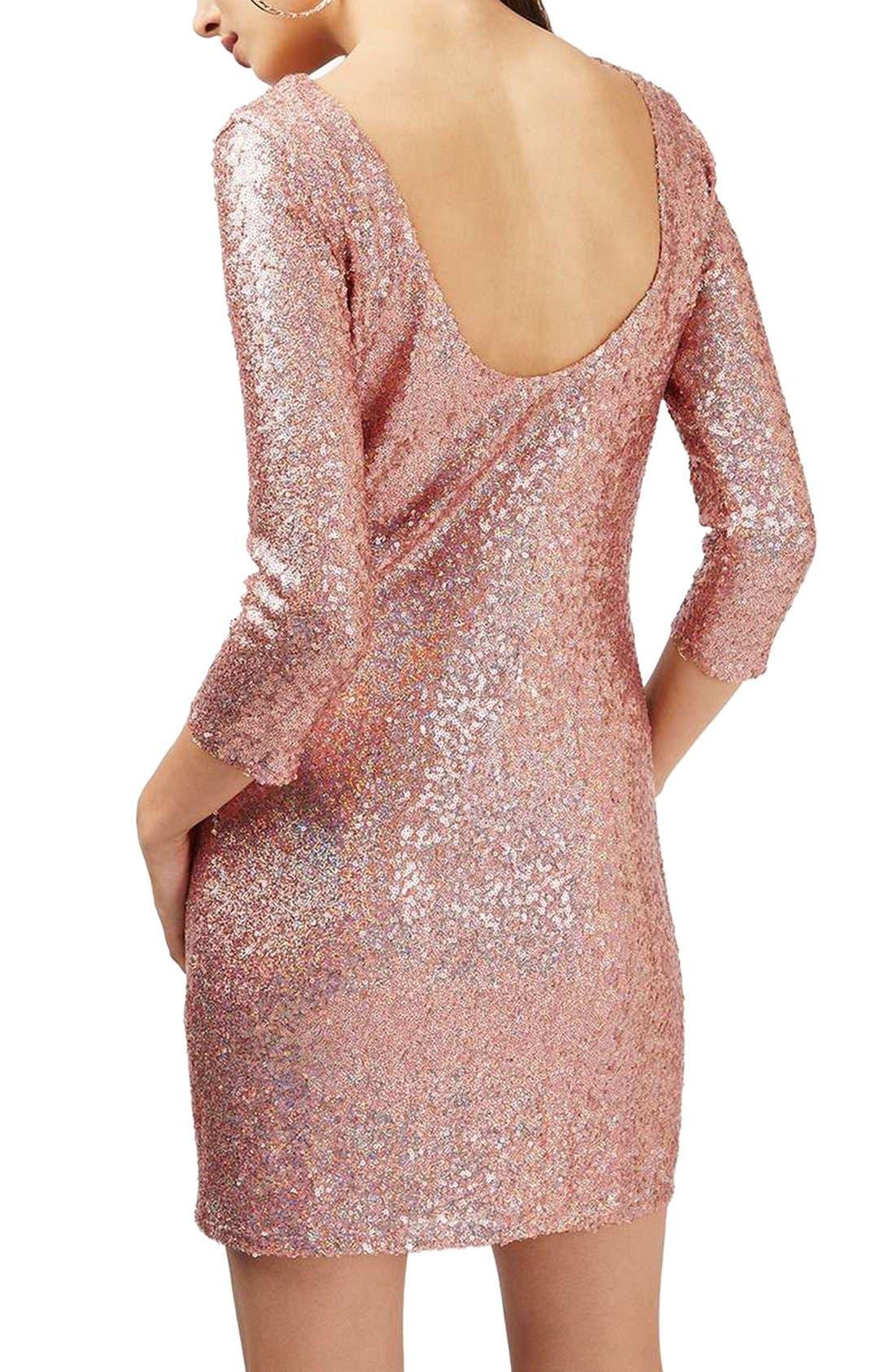 Sequin Body-Con Minidress,                             Alternate thumbnail 3, color,