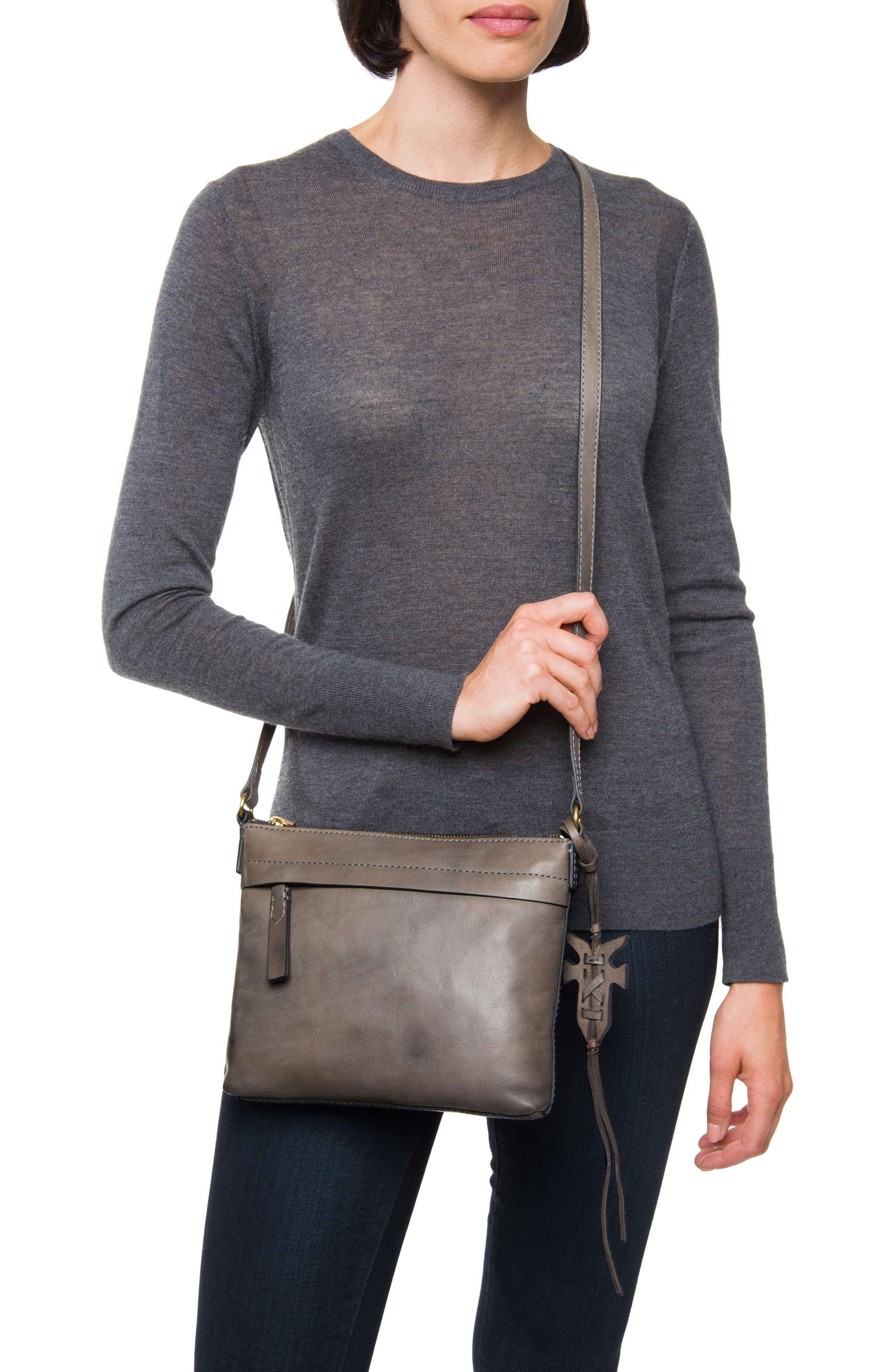 Carson Leather Crossbody Bag,                             Alternate thumbnail 2, color,                             GREY