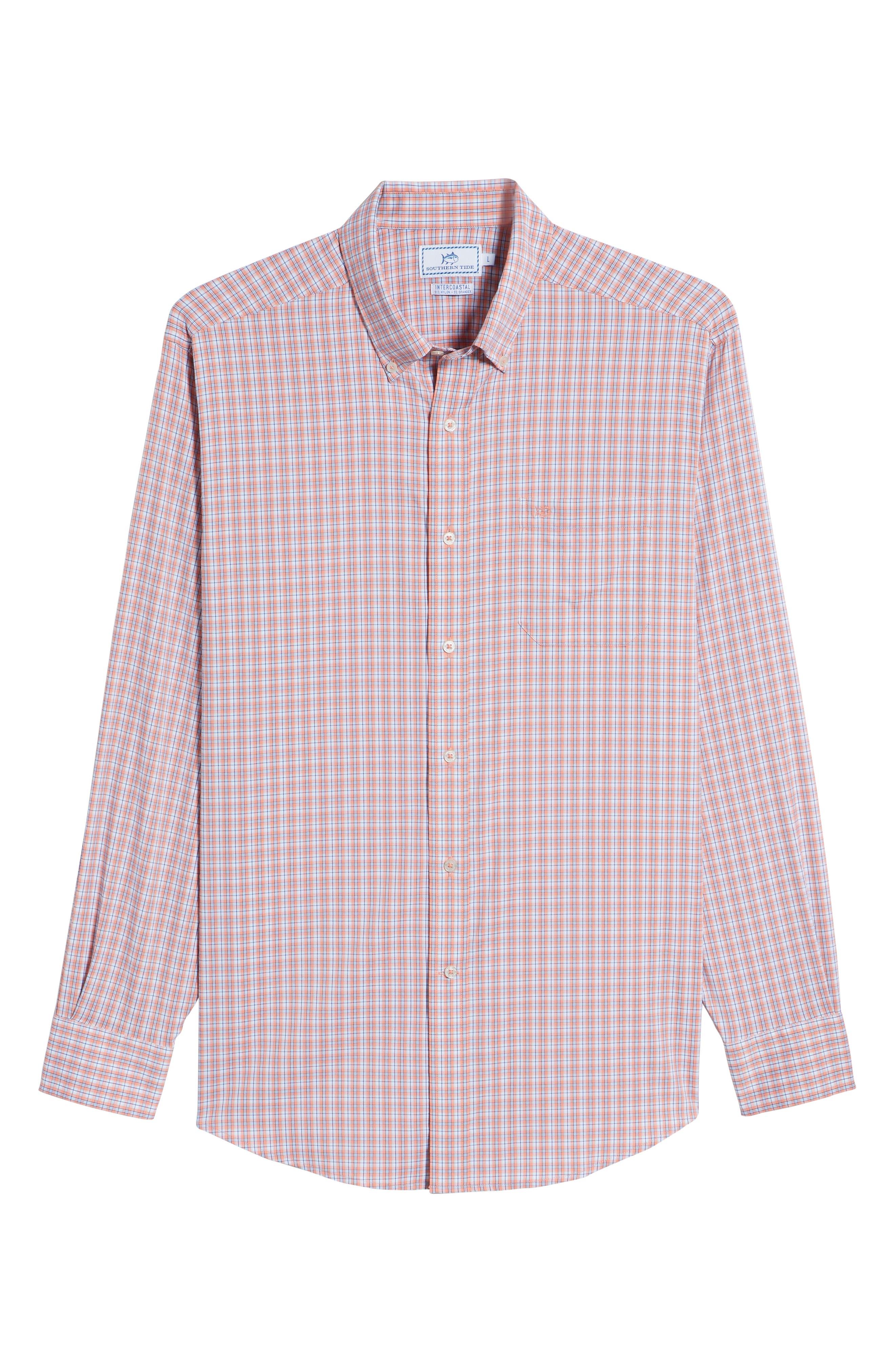 Grand Turk Regular Fit Stretch Plaid Sport Shirt,                             Alternate thumbnail 6, color,                             801