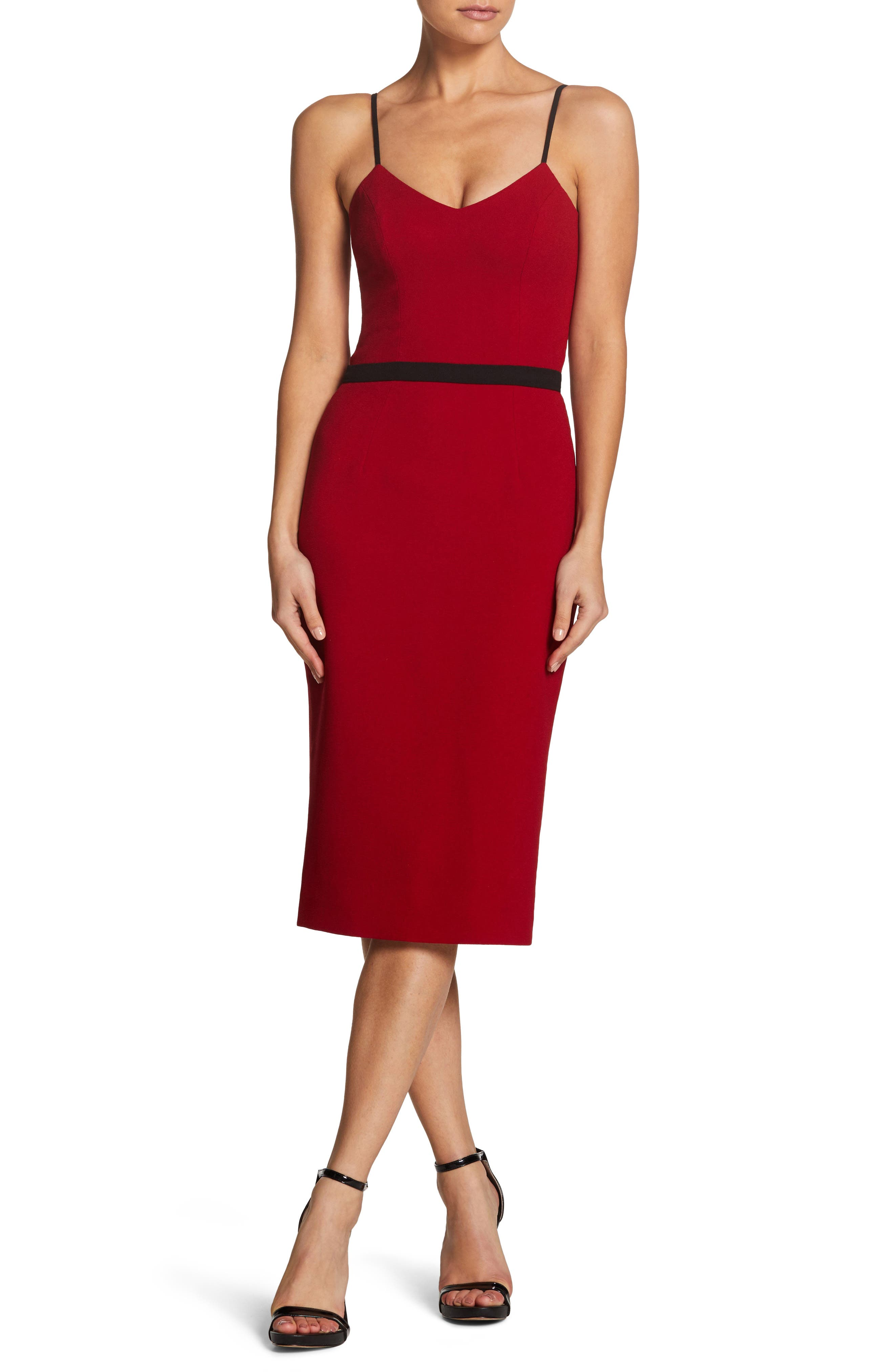 Dress The Population Emma Spaghetti Strap Body-Con Dress, Red