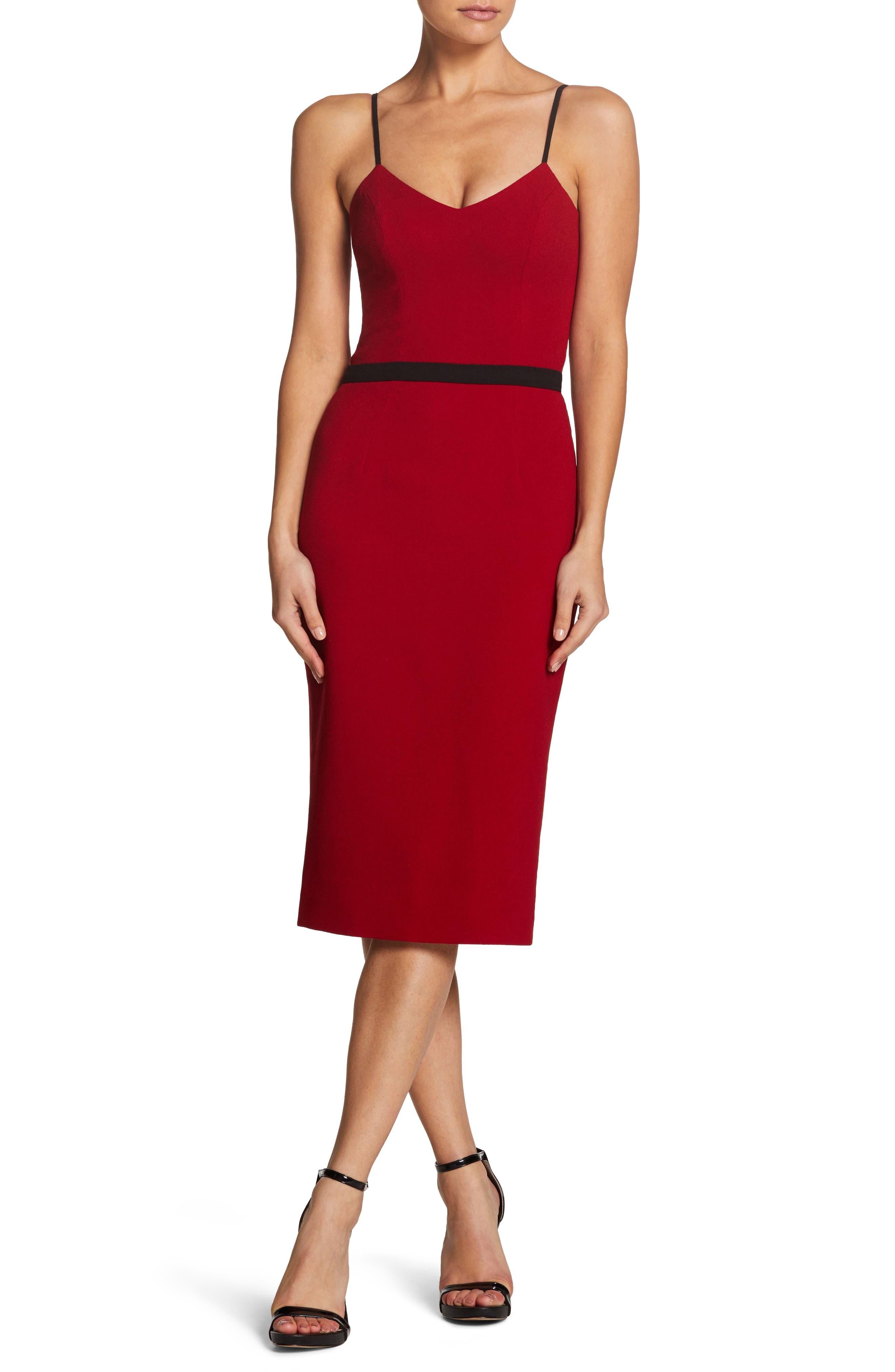 Emma Spaghetti Strap Body-Con Dress,                         Main,                         color, GARNET