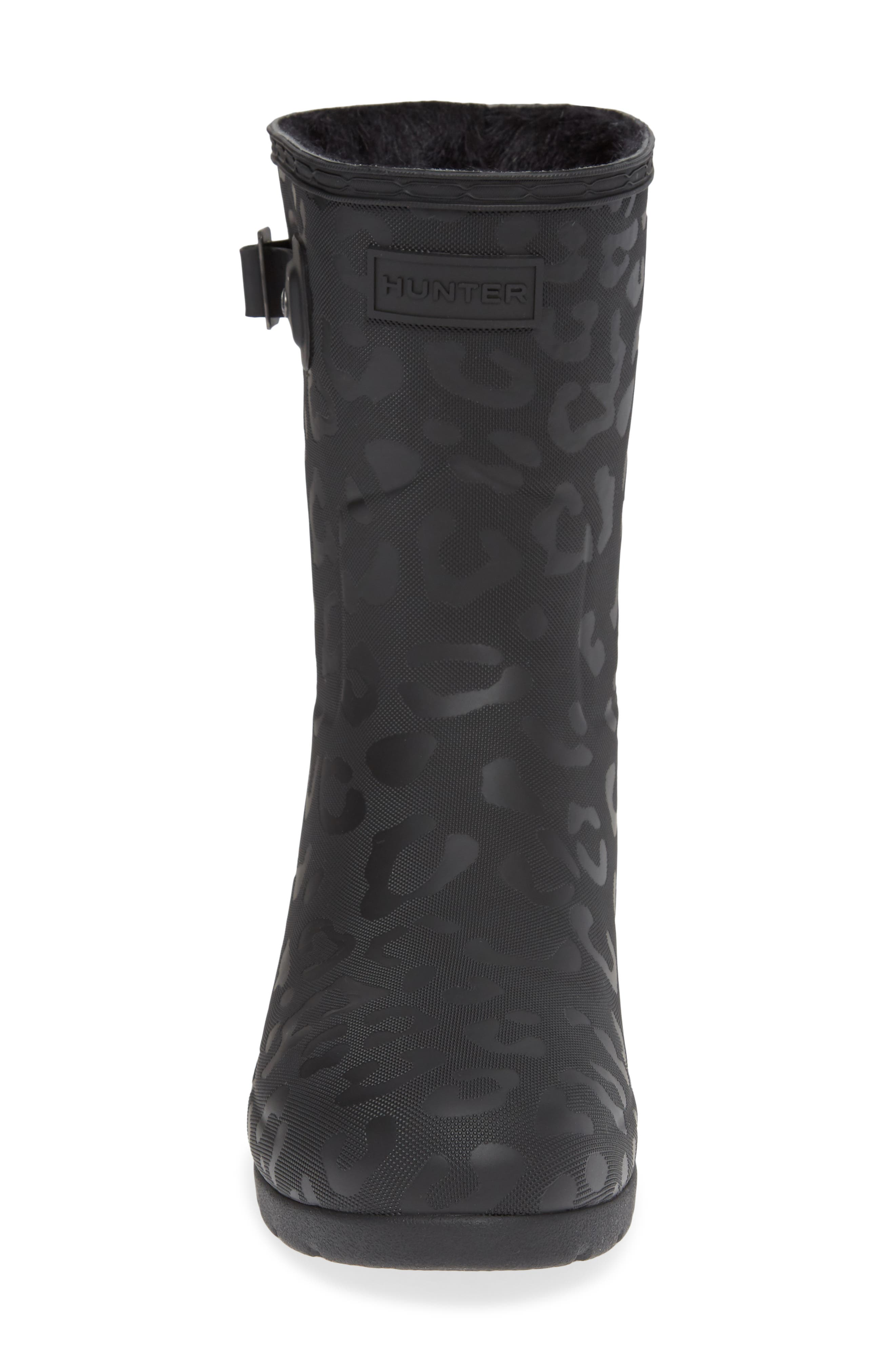 HUNTER,                             Original Insulated Refined Short Rain Boot,                             Alternate thumbnail 4, color,                             001