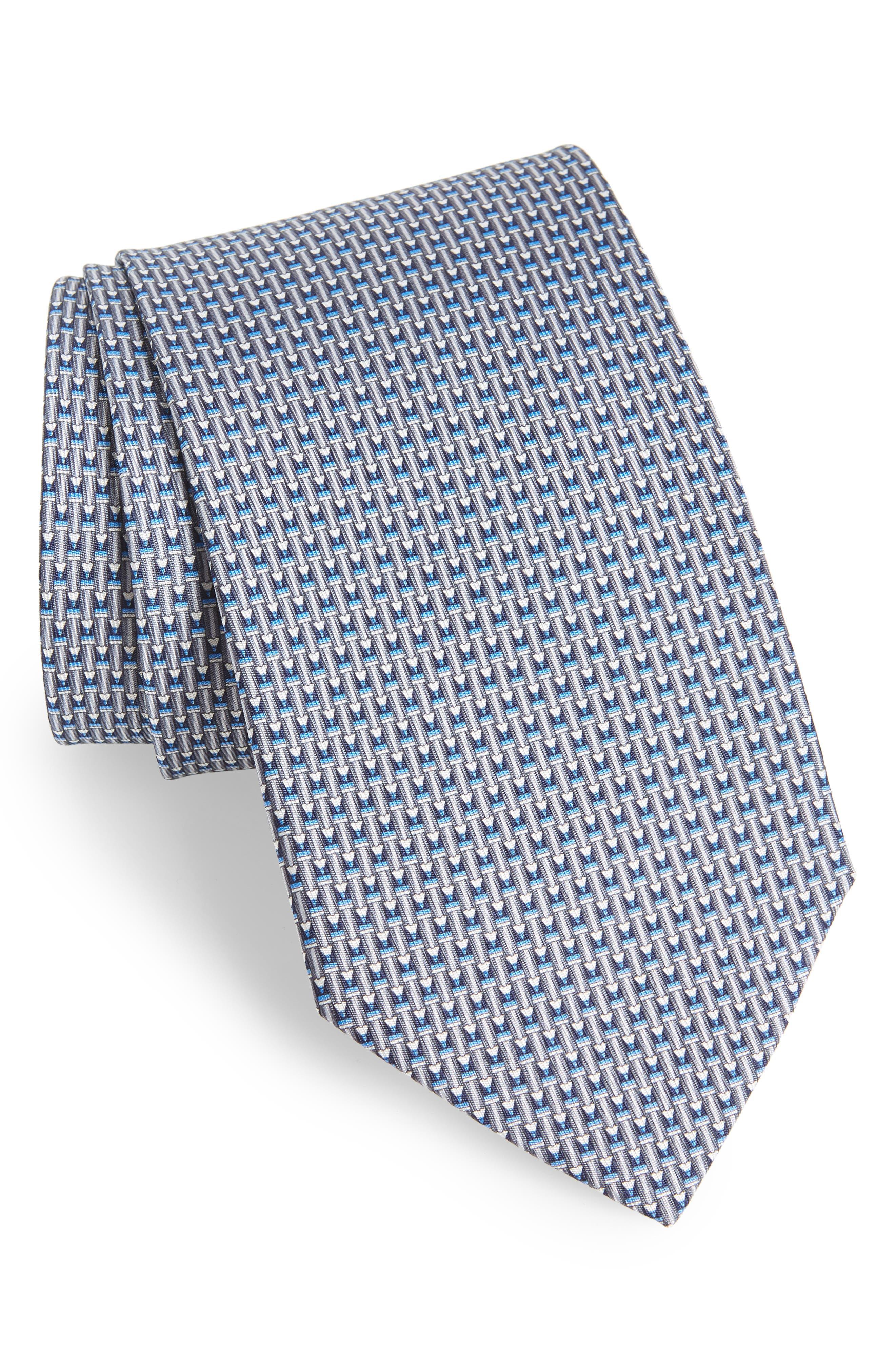 Fina Print Silk Tie,                         Main,                         color, GREY