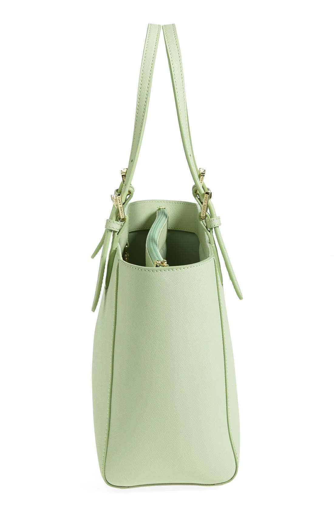 'Small York' Saffiano Leather Buckle Tote,                             Alternate thumbnail 57, color,