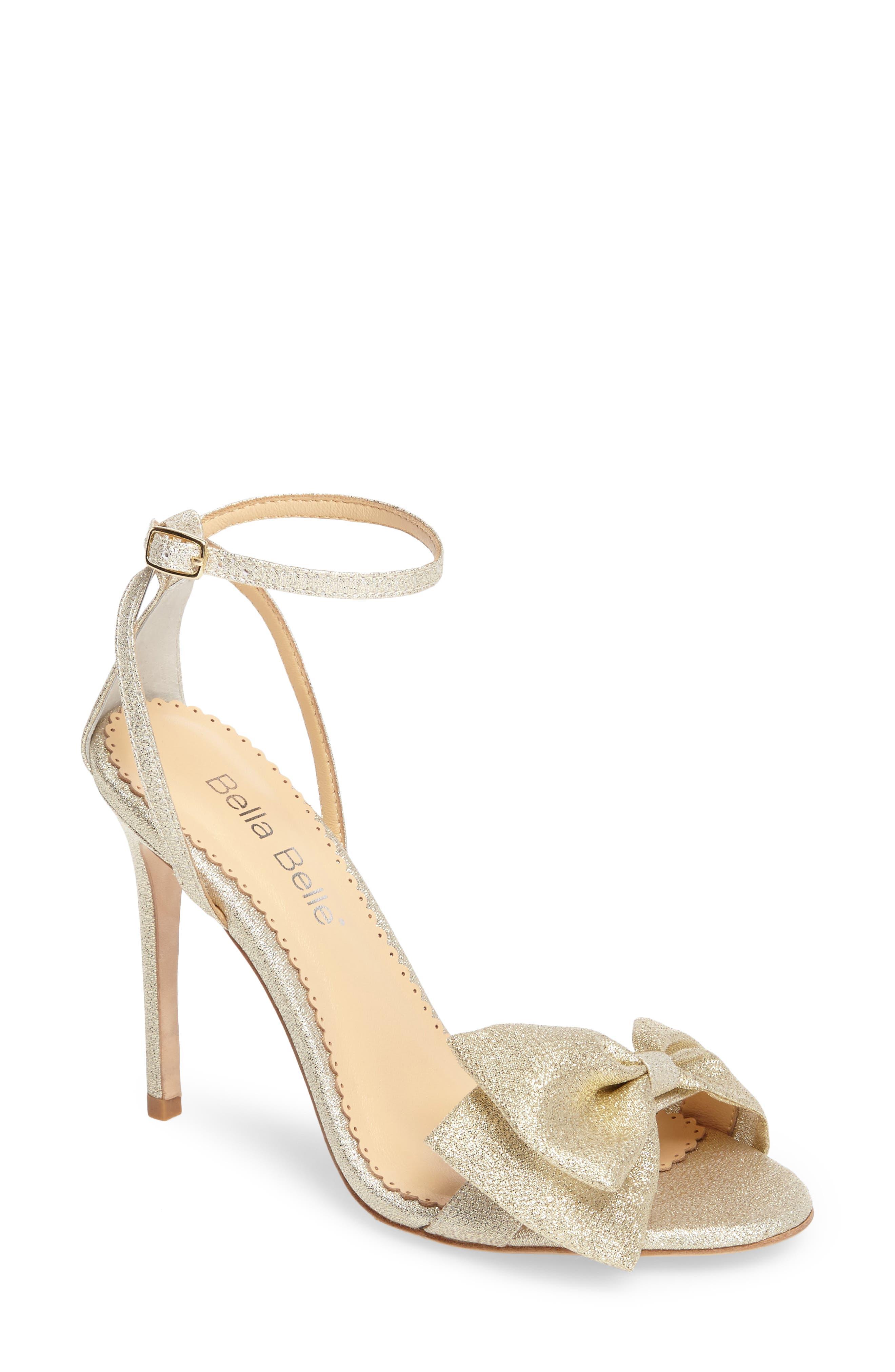 Aubrey Bow Ankle Strap Sandal,                             Main thumbnail 1, color,                             GOLD