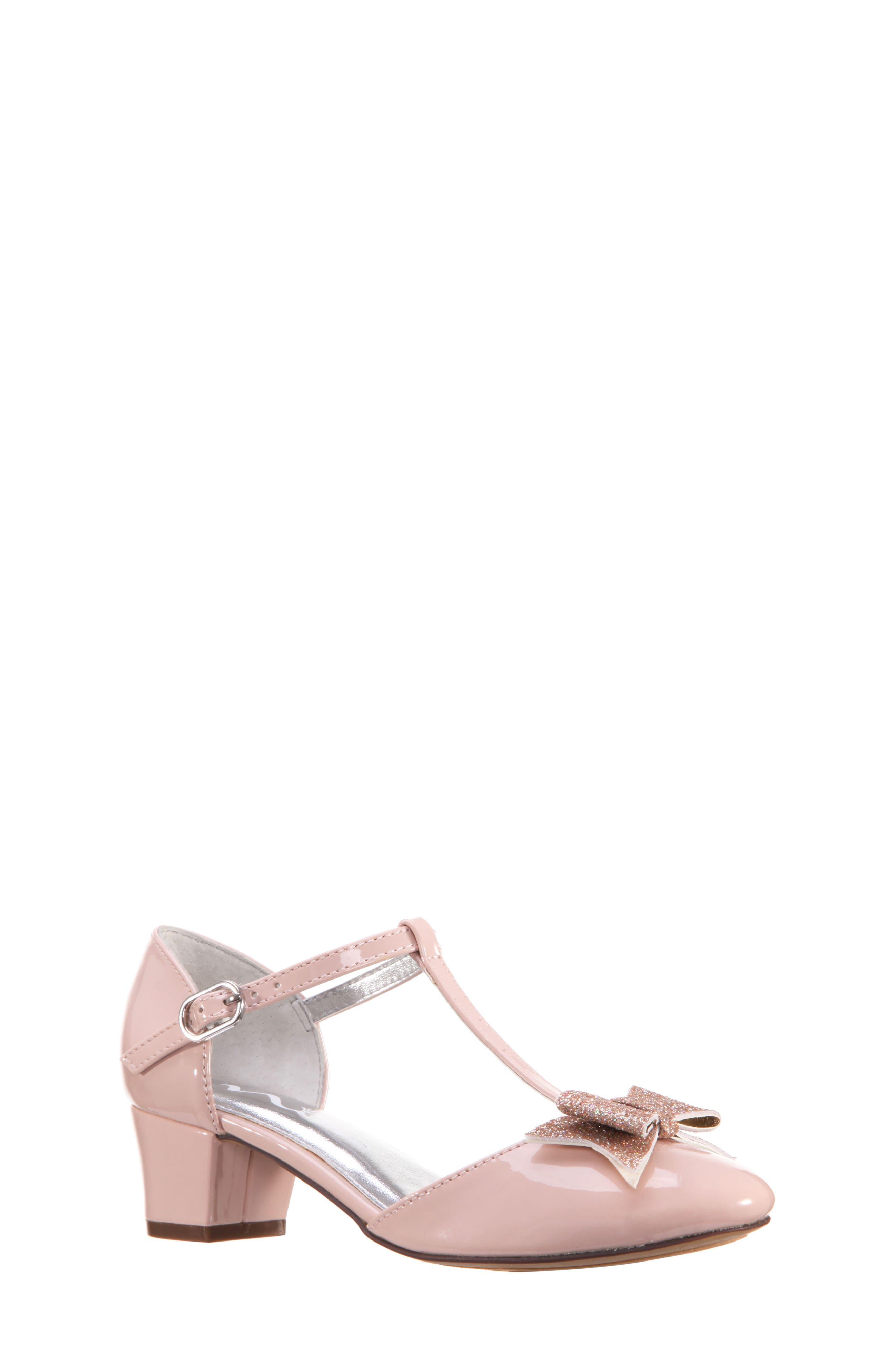 Marvette T-Strap Sandal,                             Main thumbnail 1, color,                             BLUSH PATENT