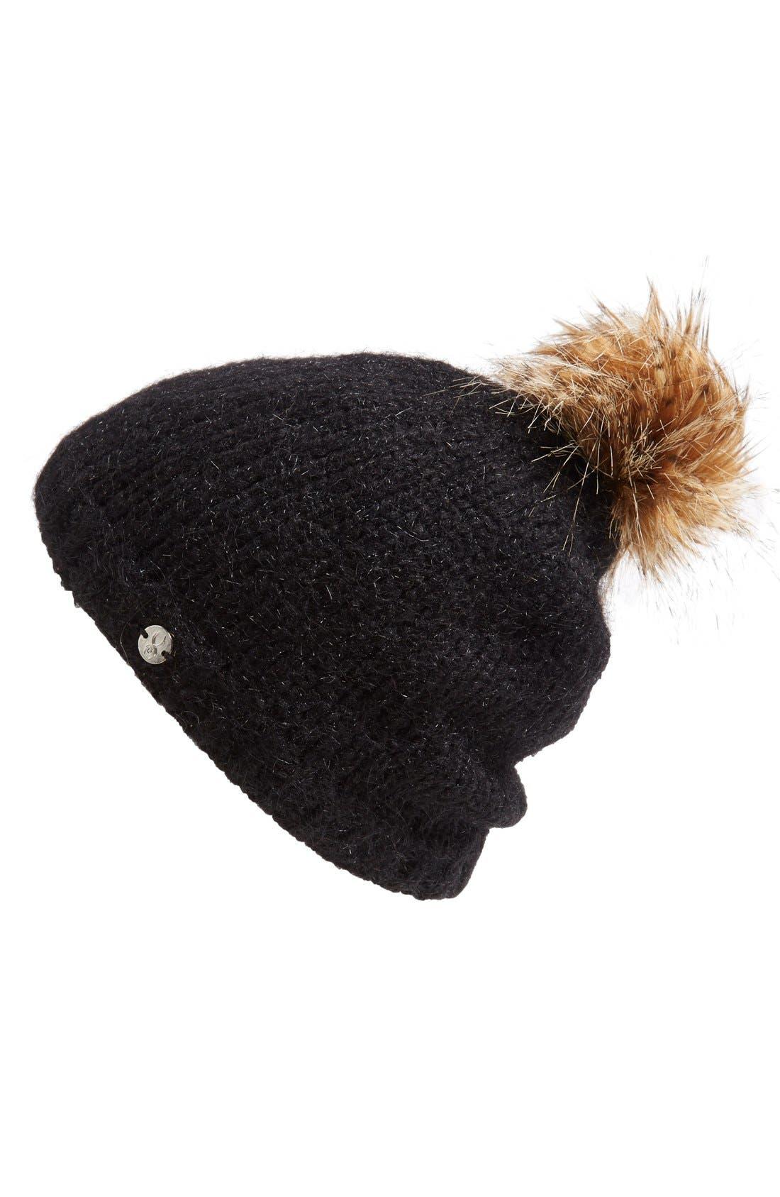 'Icicle' Faux Fur Trim Beanie, Main, color, 001