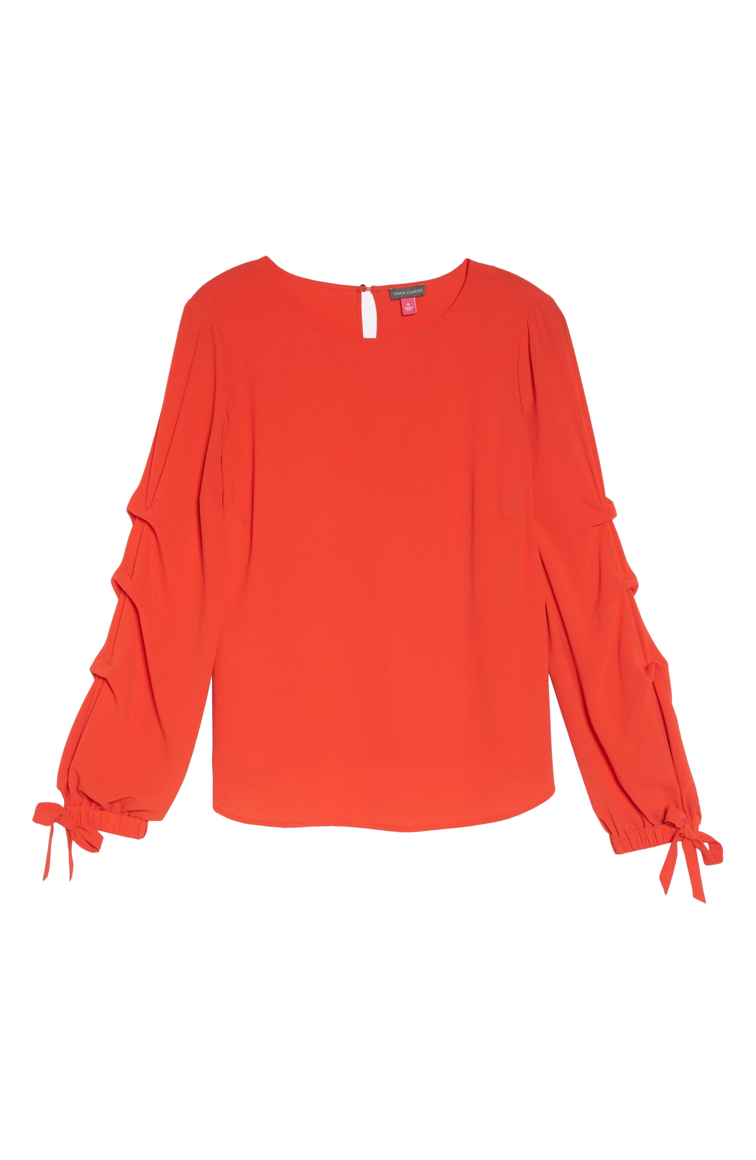 Tiered Tie Cuff Crepe Blouse,                             Alternate thumbnail 7, color,
