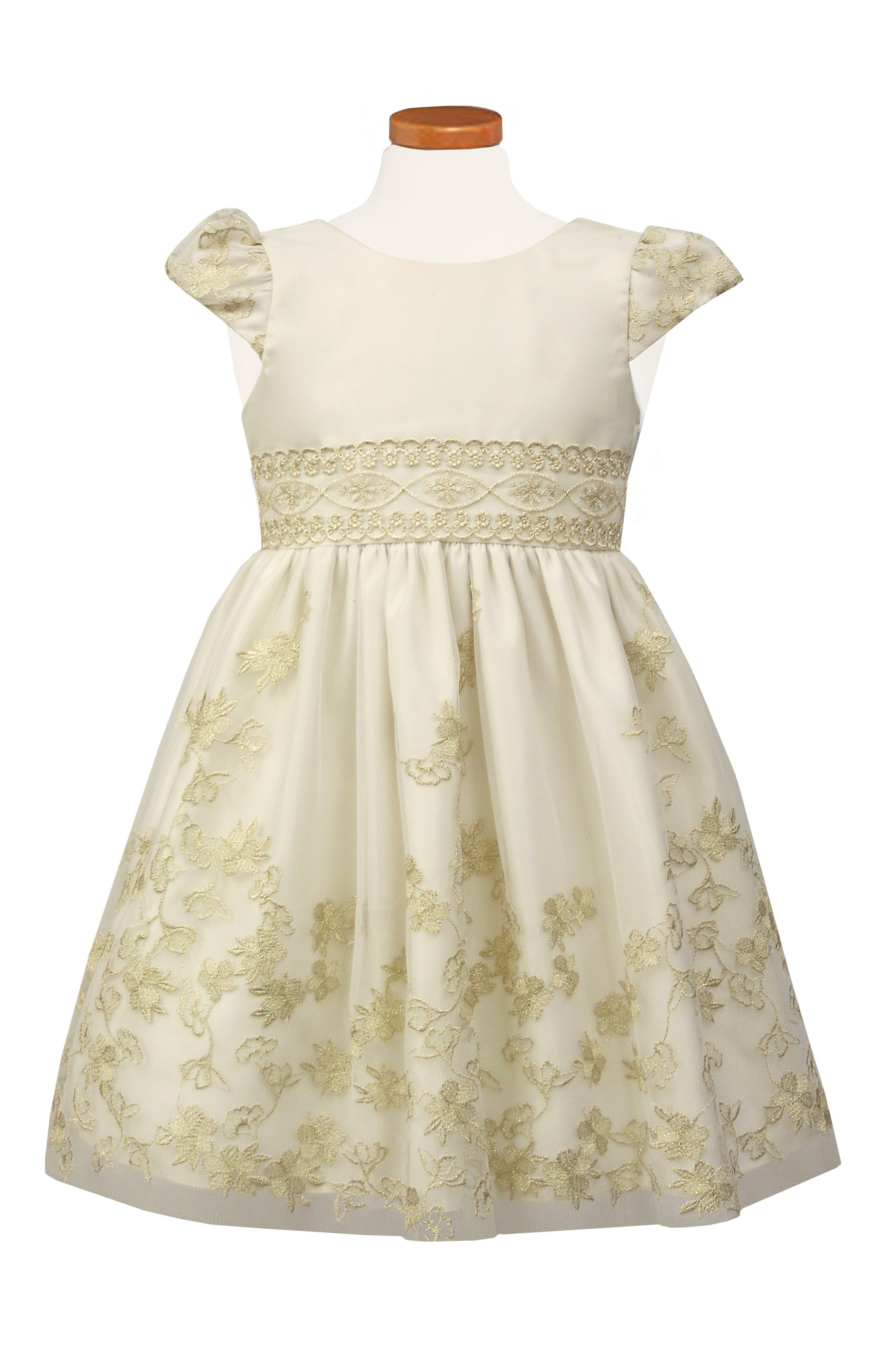Embroidered Fit & Flare Dress,                         Main,                         color, IVORY
