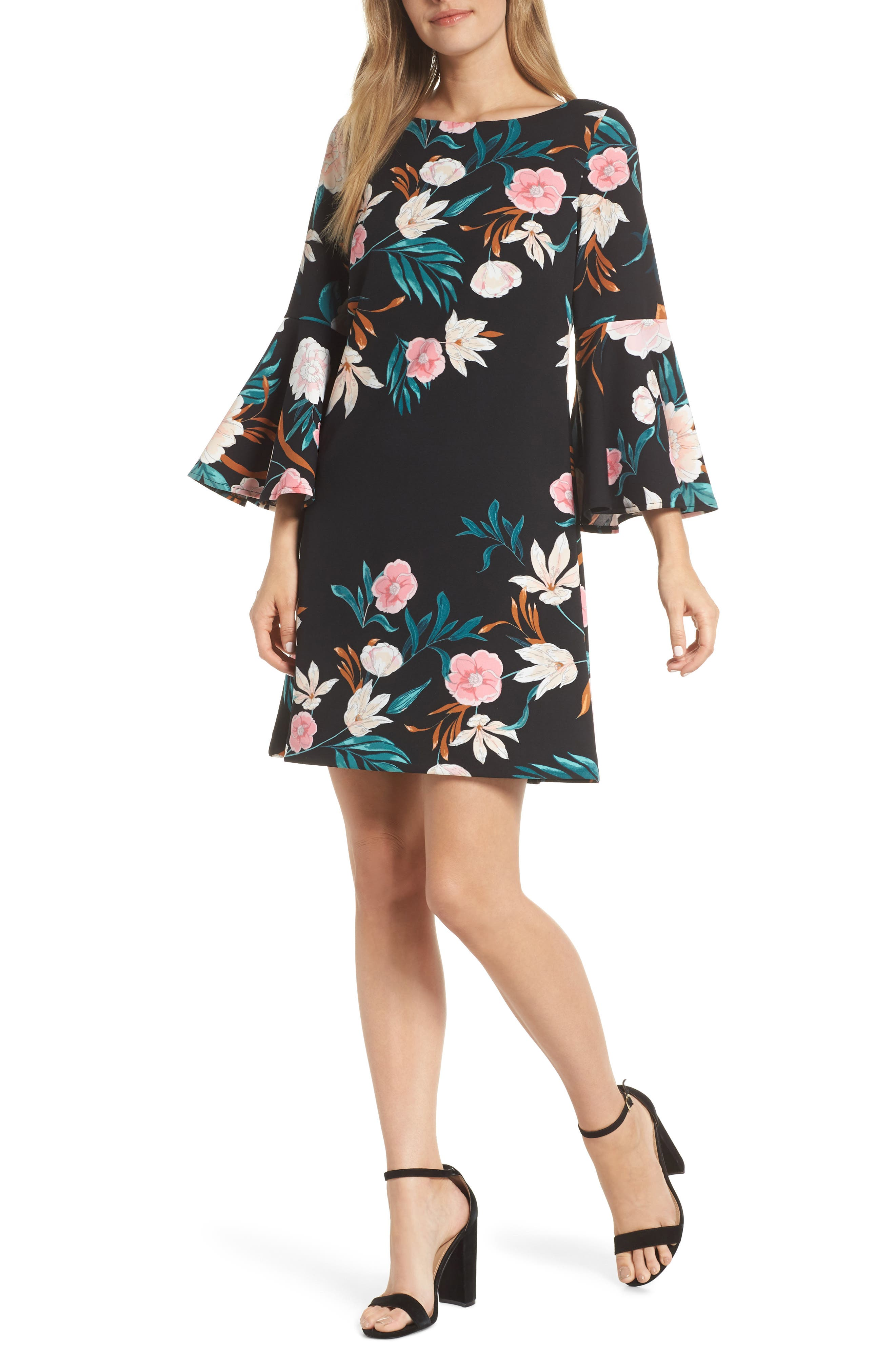 Eliza J Bell Sleeve Floral Print Shift Dress, Black