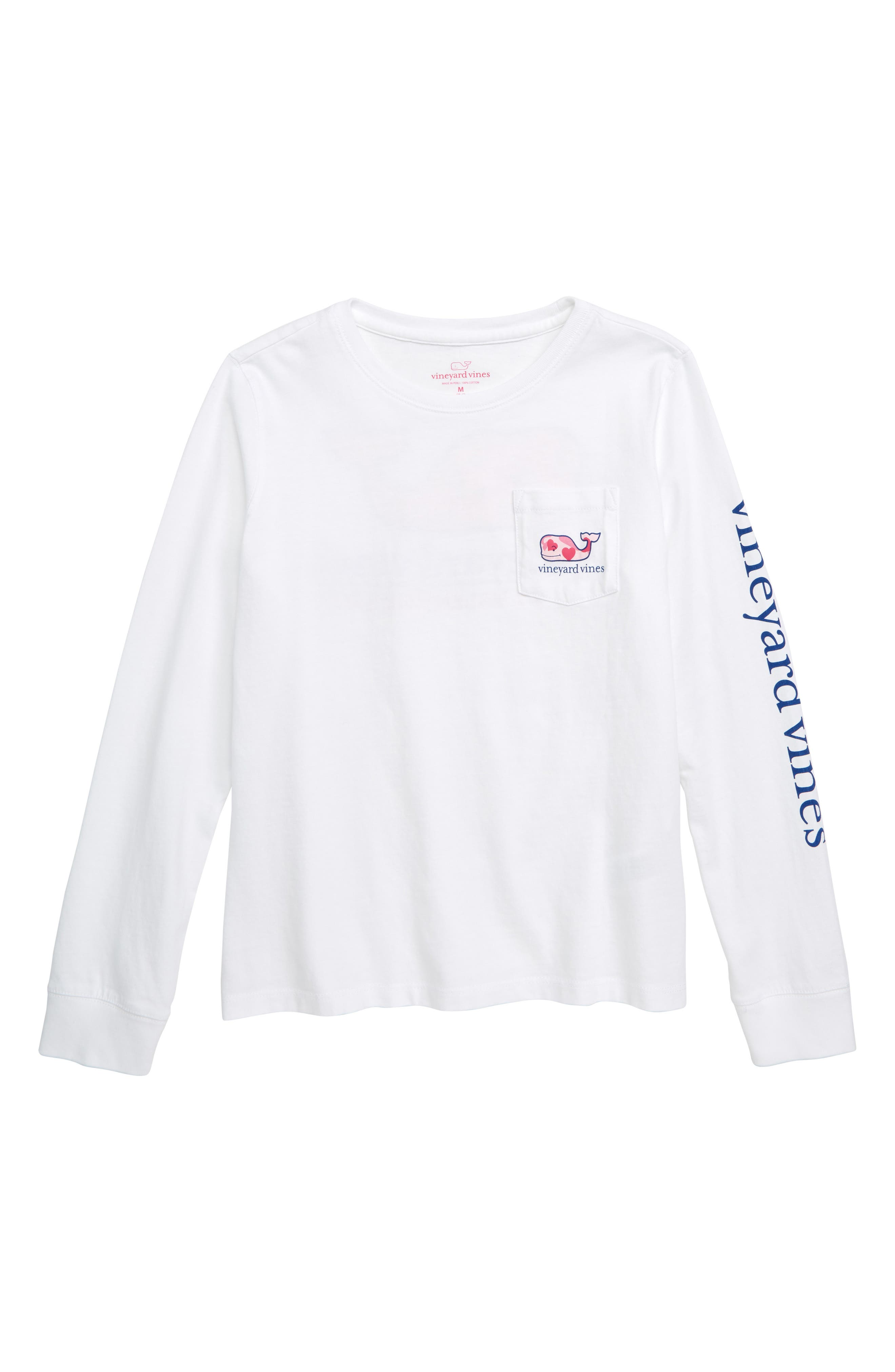 Valentine's Day Whale Pocket T-Shirt,                             Main thumbnail 1, color,                             FLAMINGO