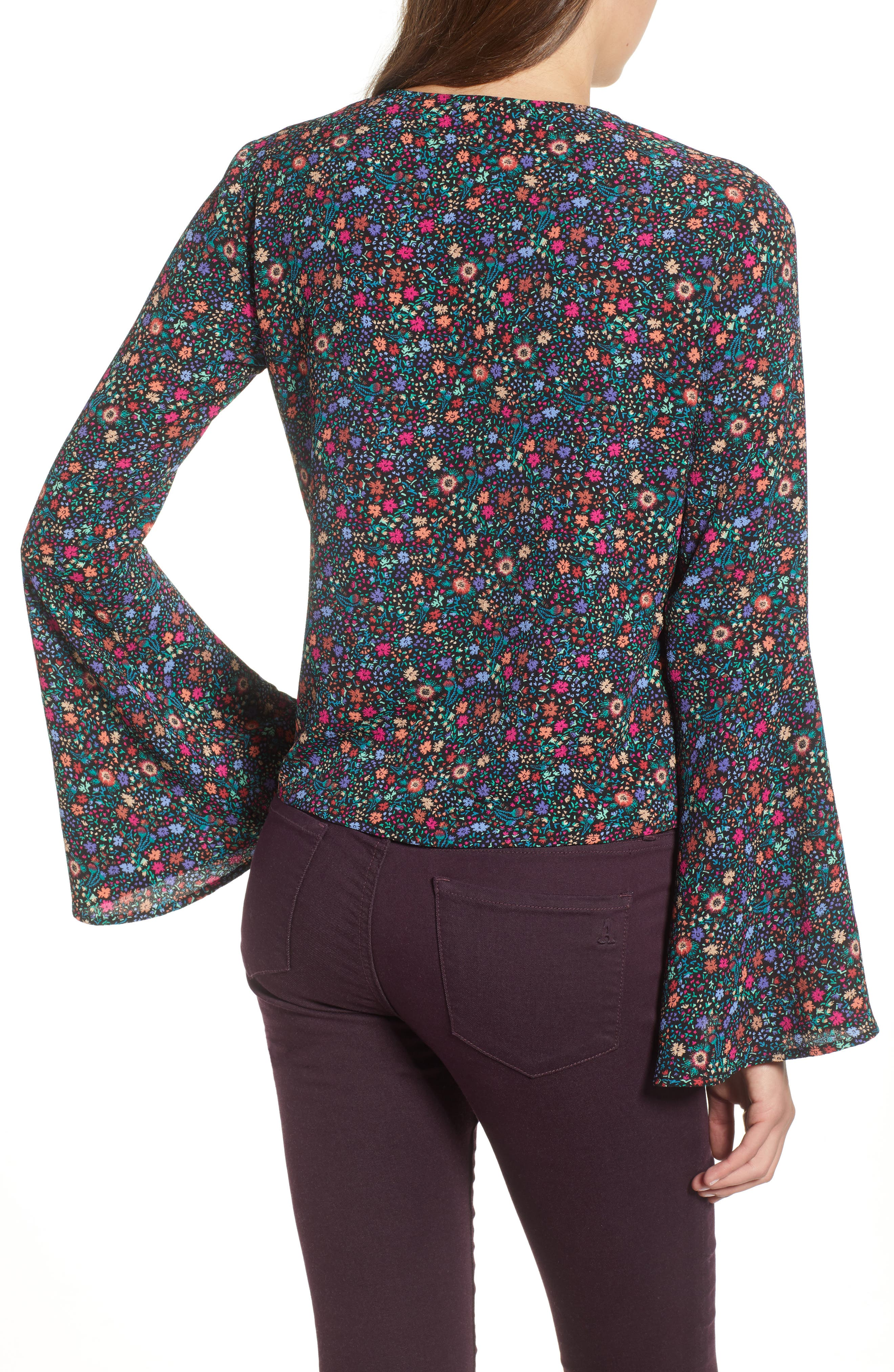 Bell Sleeve Wrap Top,                             Alternate thumbnail 2, color,                             001