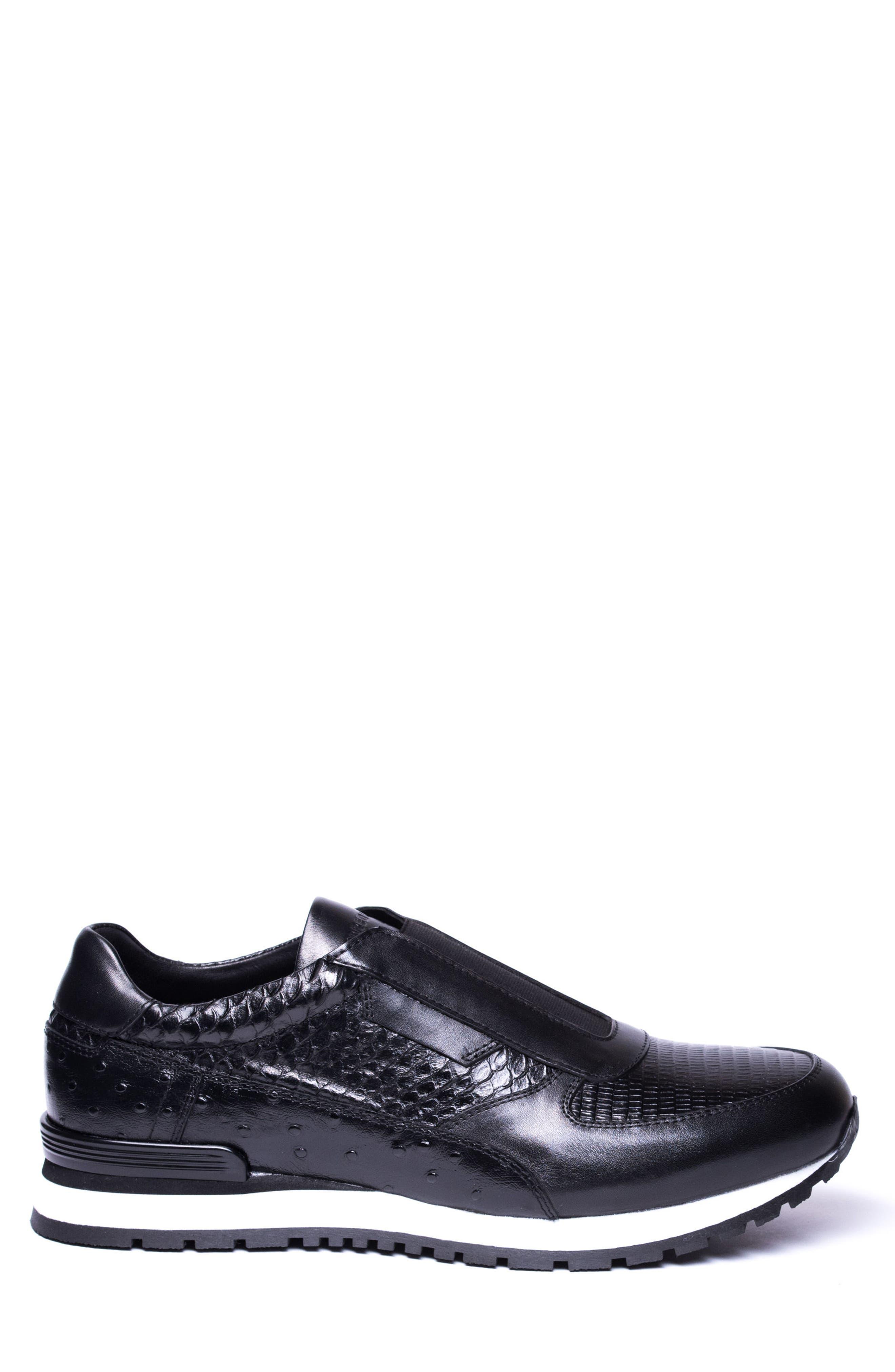 Barrett Embossed Slip-On Sneaker,                             Alternate thumbnail 3, color,                             BLACK LEATHER