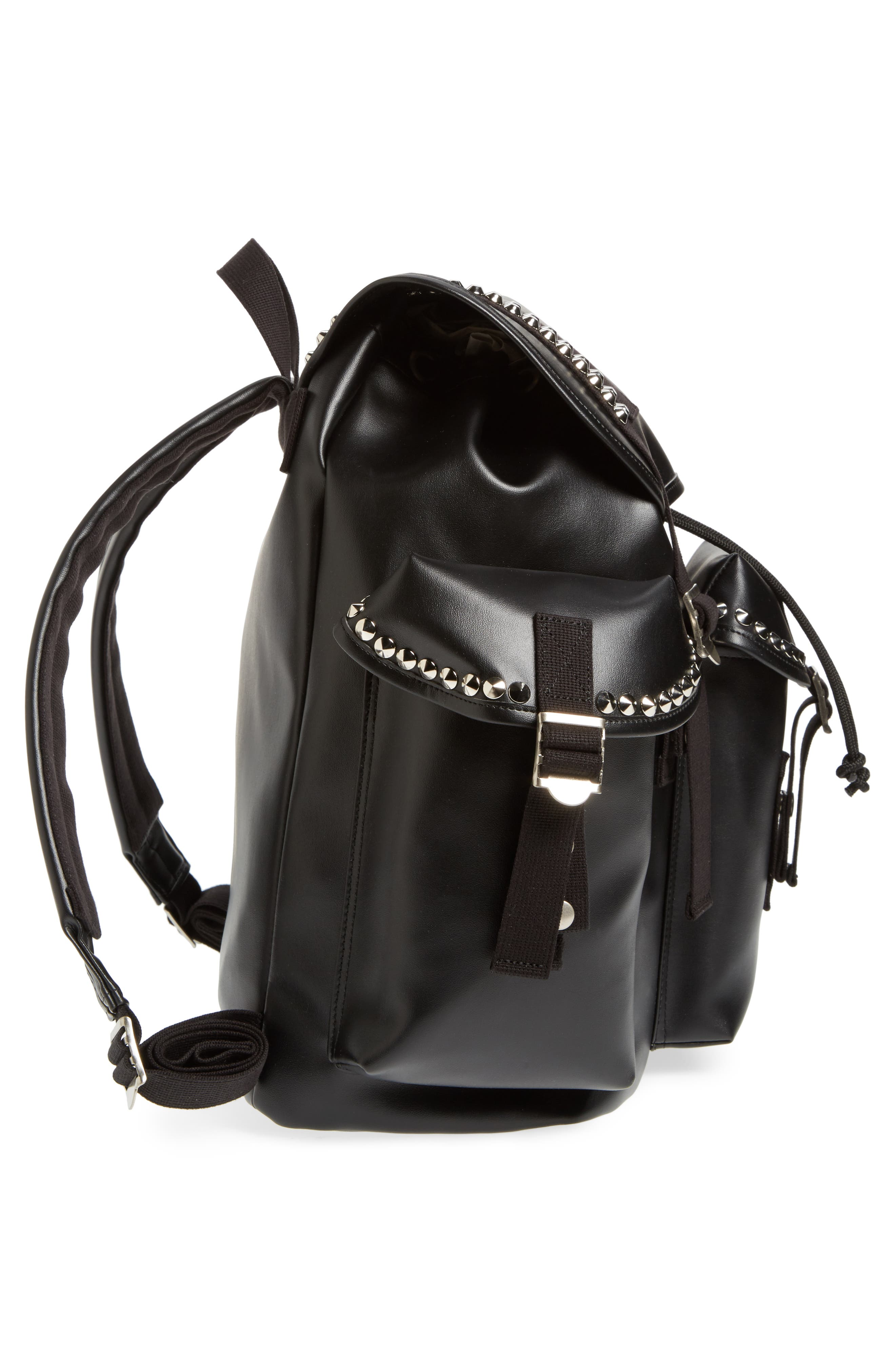 Studded Faux Leather Backpack,                             Alternate thumbnail 5, color,                             001