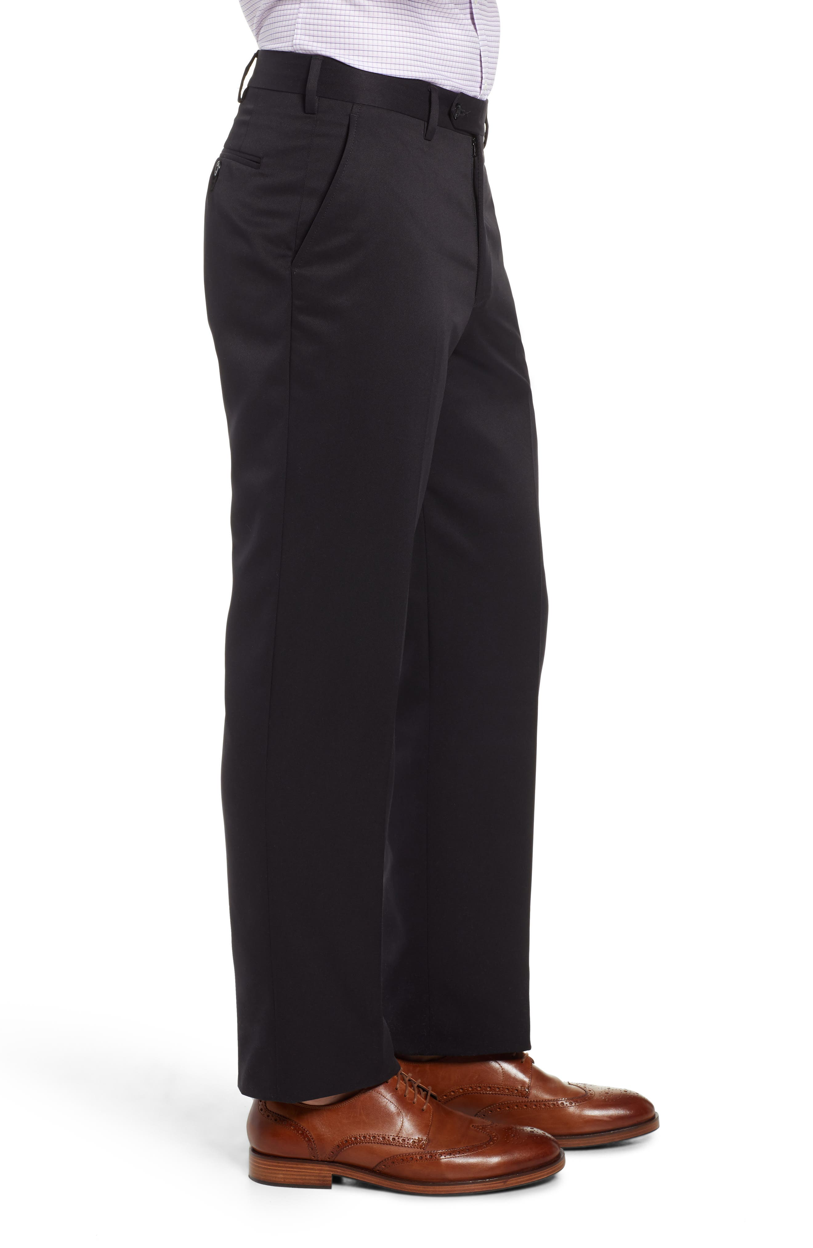 Classic Fit Flat Front Microfiber Performance Trousers,                             Alternate thumbnail 3, color,                             BLACK