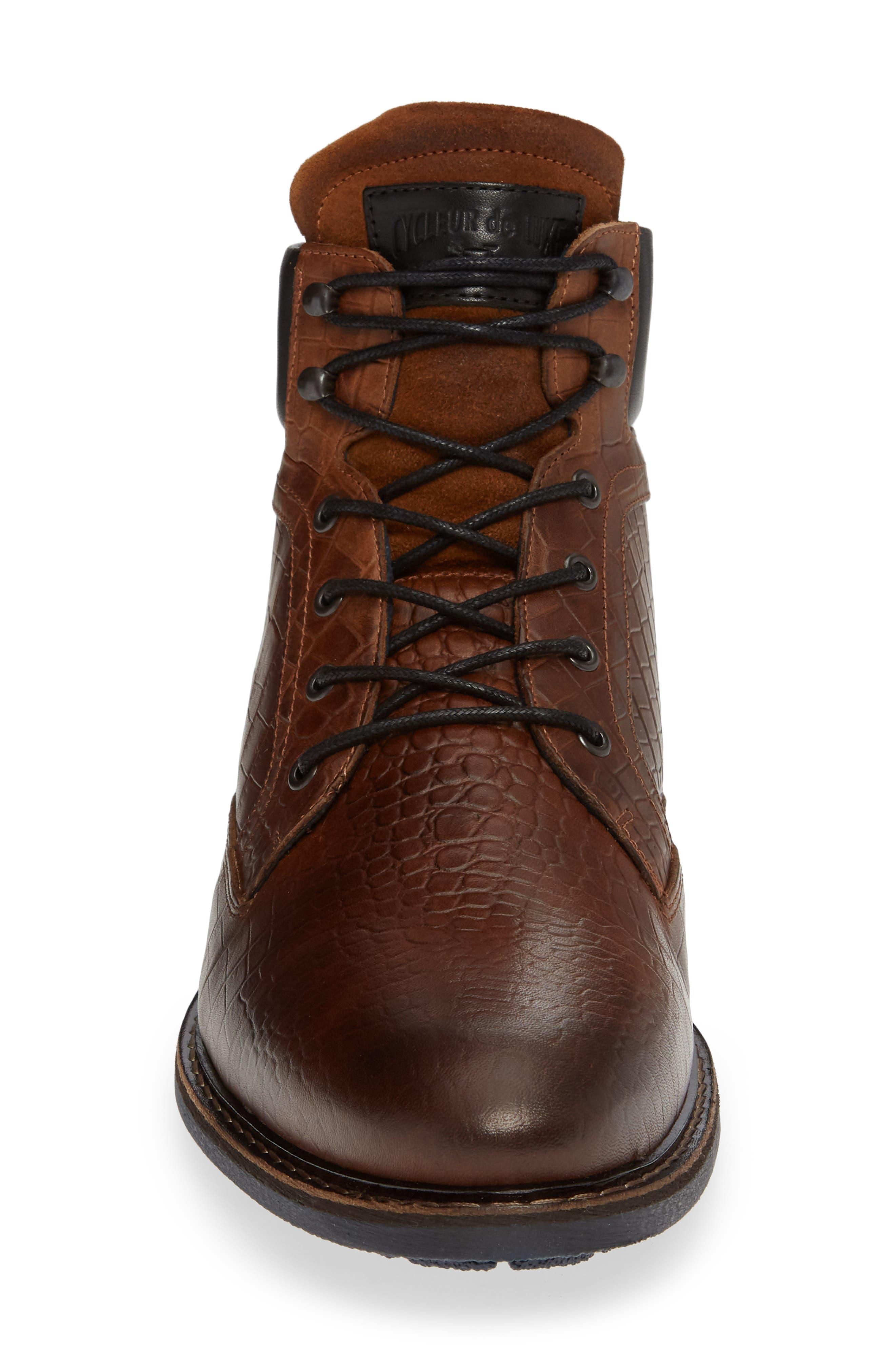 Trooper Plain Toe Boot,                             Alternate thumbnail 4, color,                             DARK COGNAC