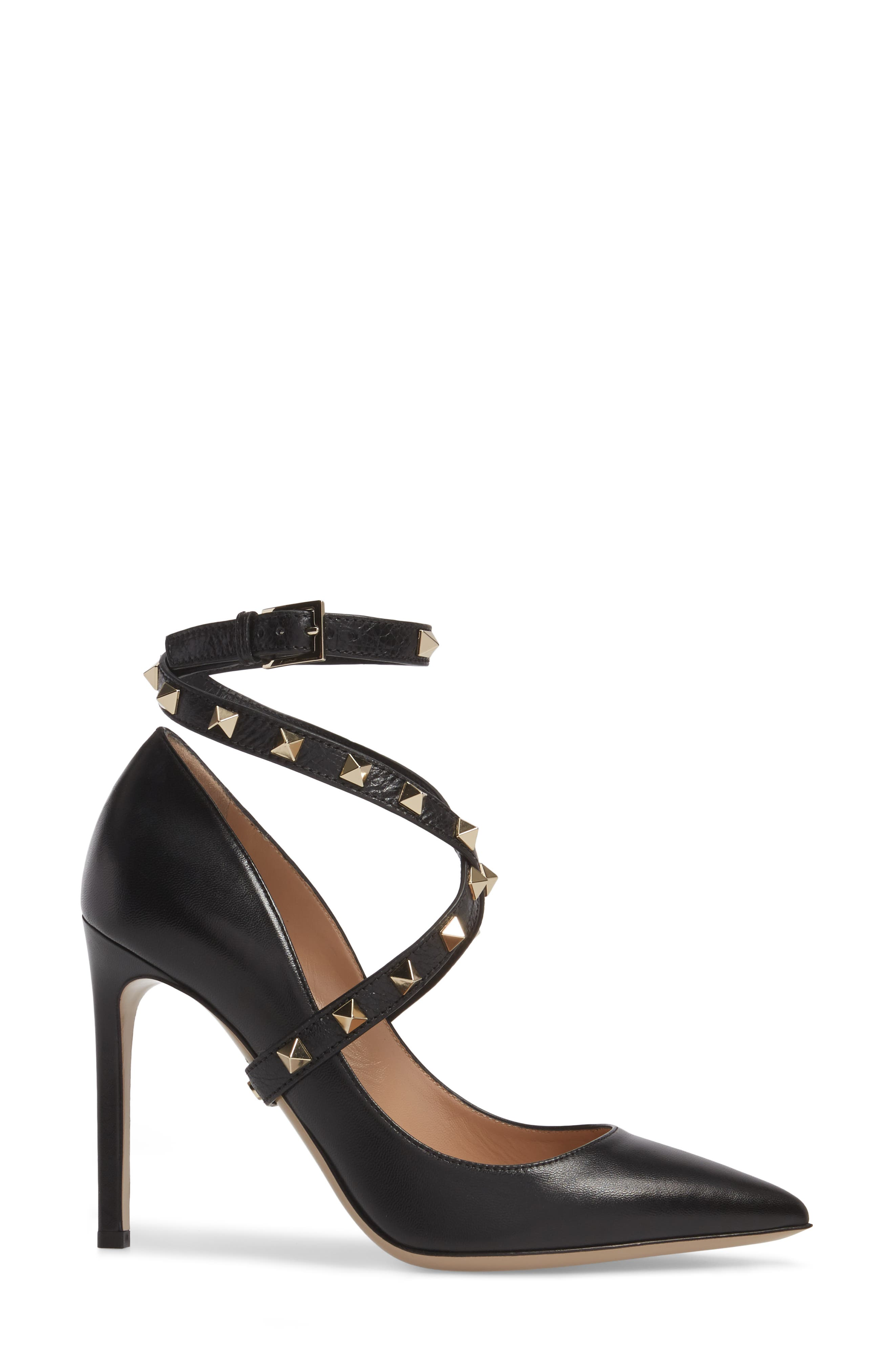 Rockstud Wrap Pump,                             Alternate thumbnail 3, color,                             BLACK