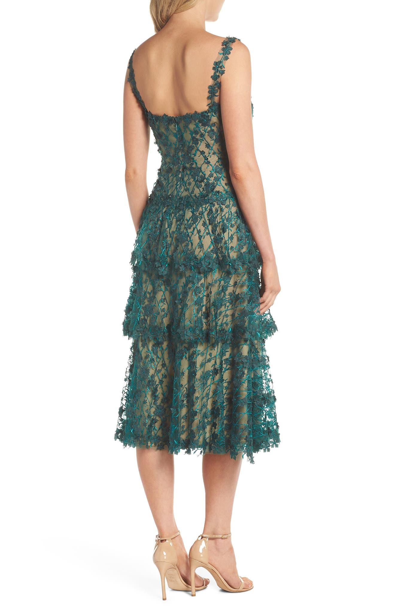 3D Floral Midi Dress,                             Alternate thumbnail 2, color,                             PINE/ NUDE