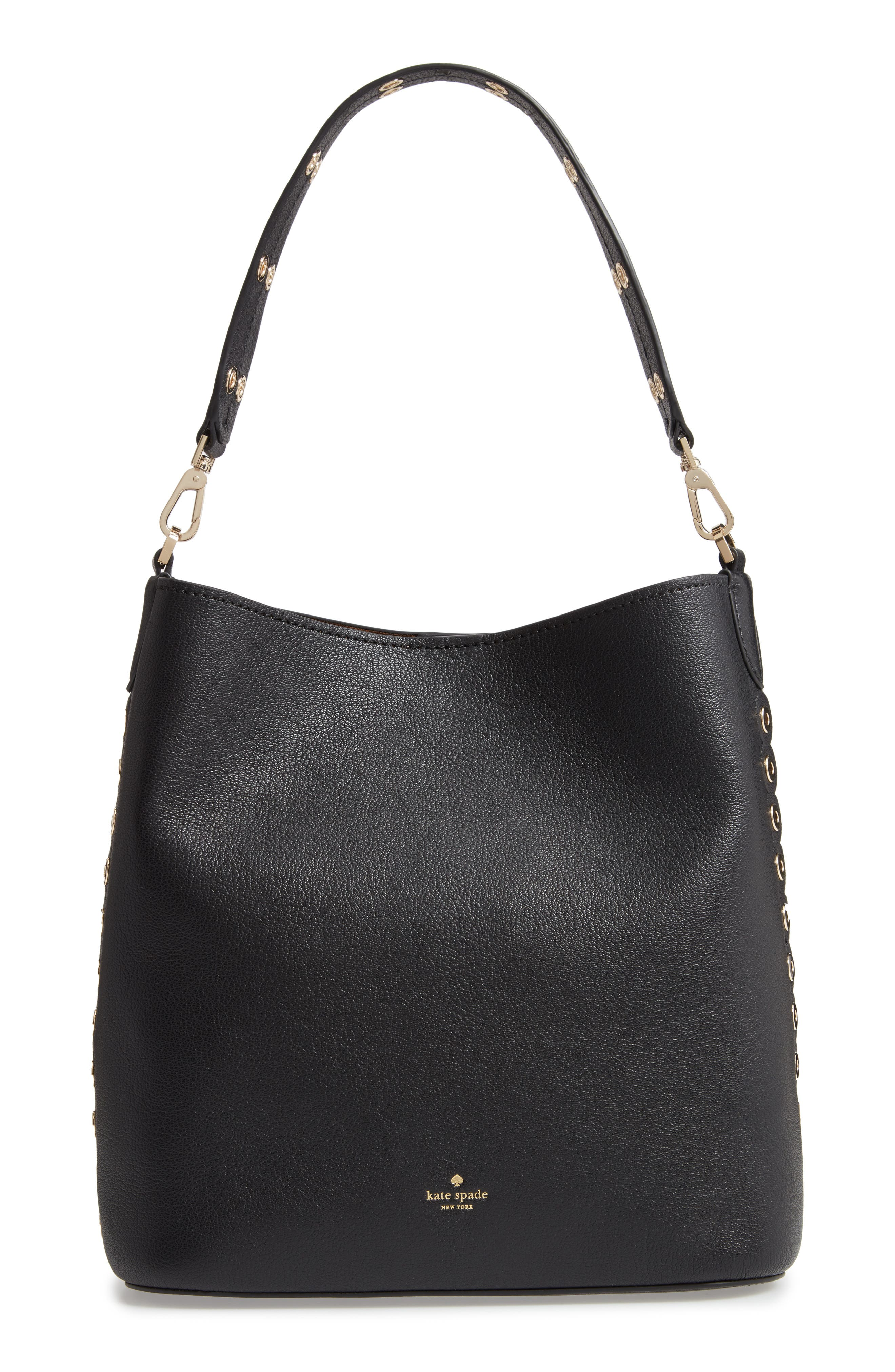 atlantic avenue libby grommet leather tote, Main, color, BLACK