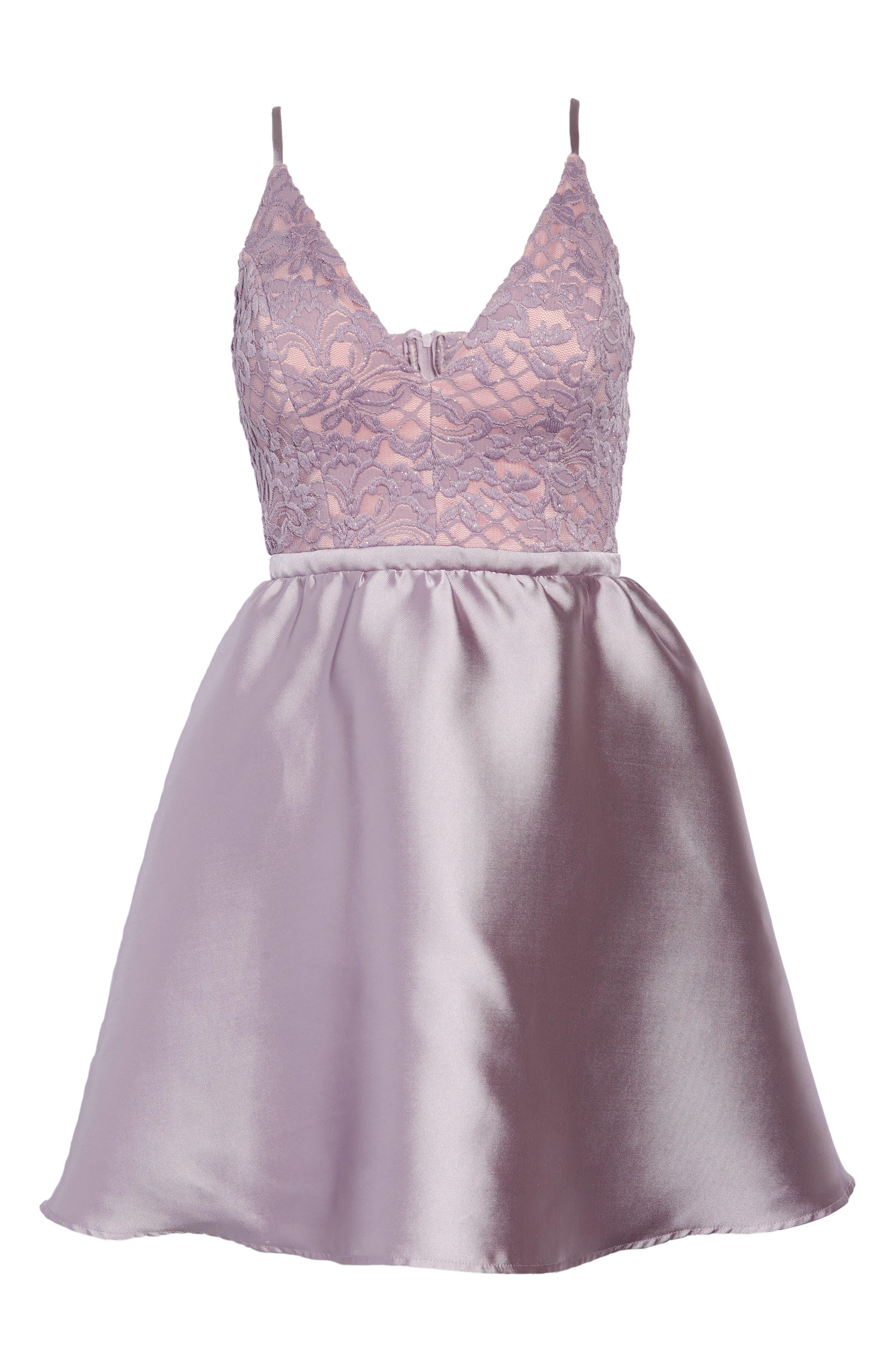 Lace & Taffeta Party Dress,                             Alternate thumbnail 7, color,                             MAUVE