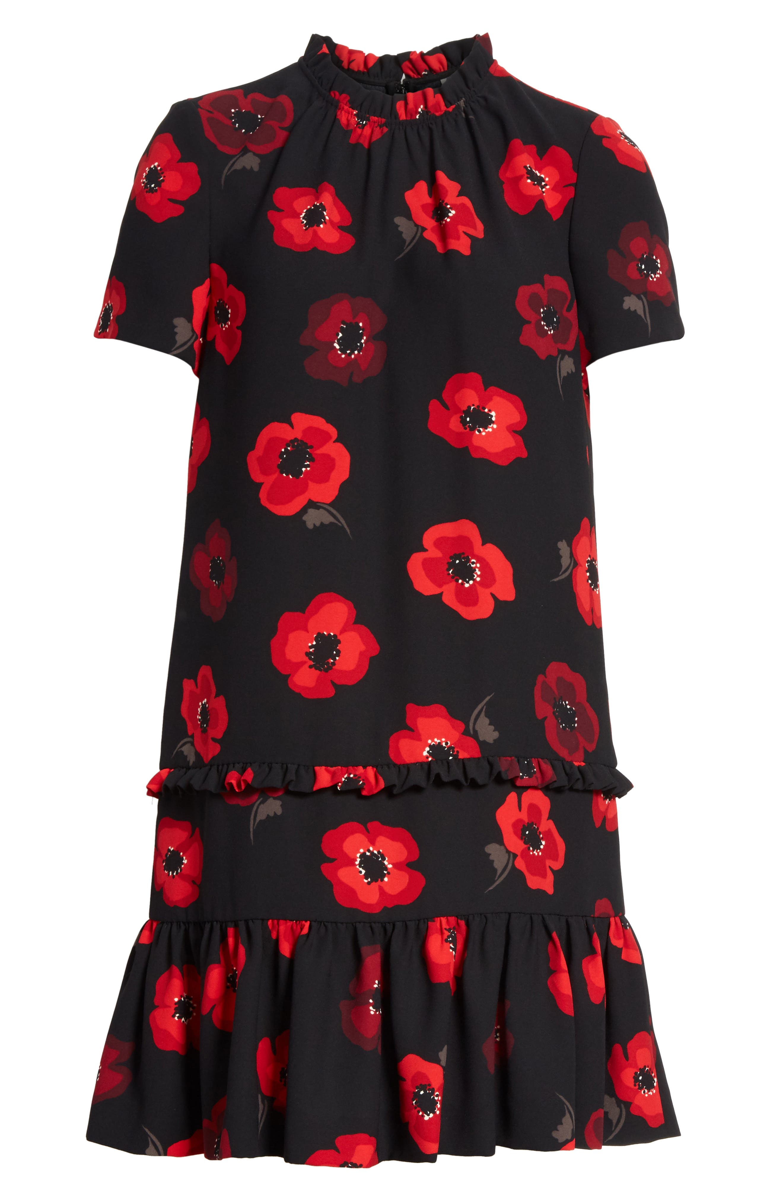 ruffle poppy shift dress,                             Alternate thumbnail 6, color,                             006