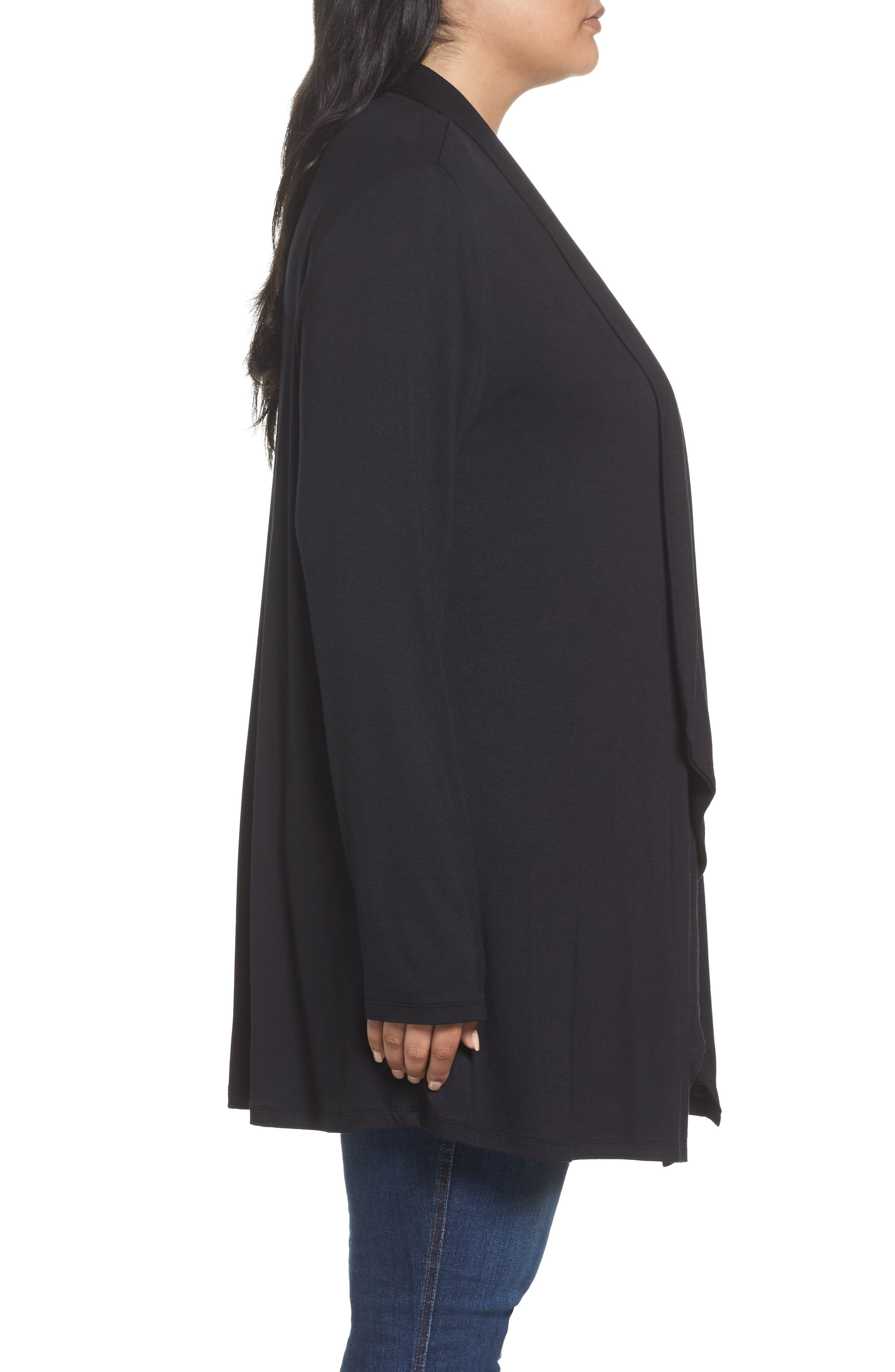Waterfall Drape Front Cardigan,                             Alternate thumbnail 3, color,                             BLACK